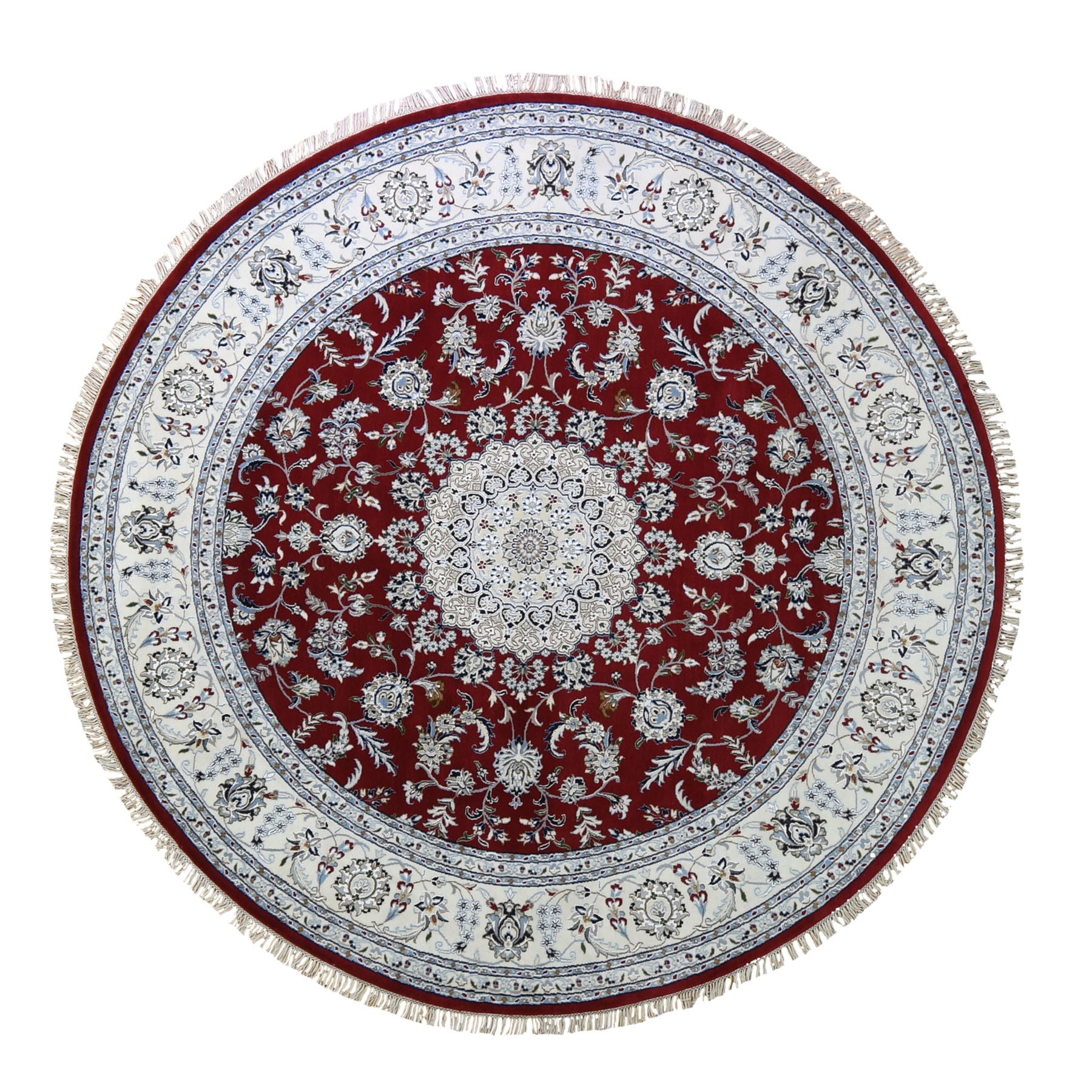 8'x8' Red Nain Wool And Silk 250 KPSI  Hand Knotted Round Oriental Rug