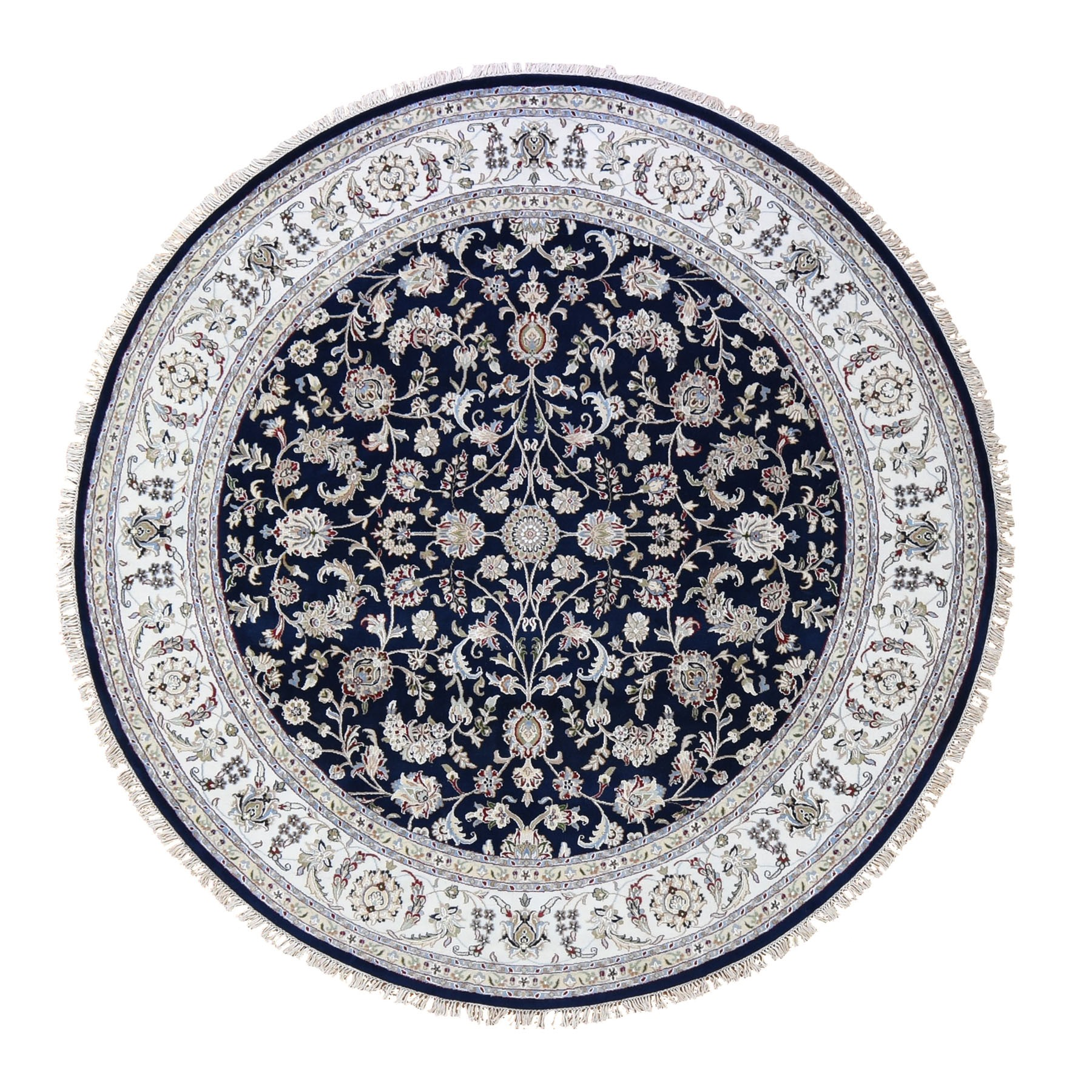 8'X8' Wool And Silk 250 Kpsi Navy Nain Hand Knotted Oriental Round Oriental Rug moad99c6