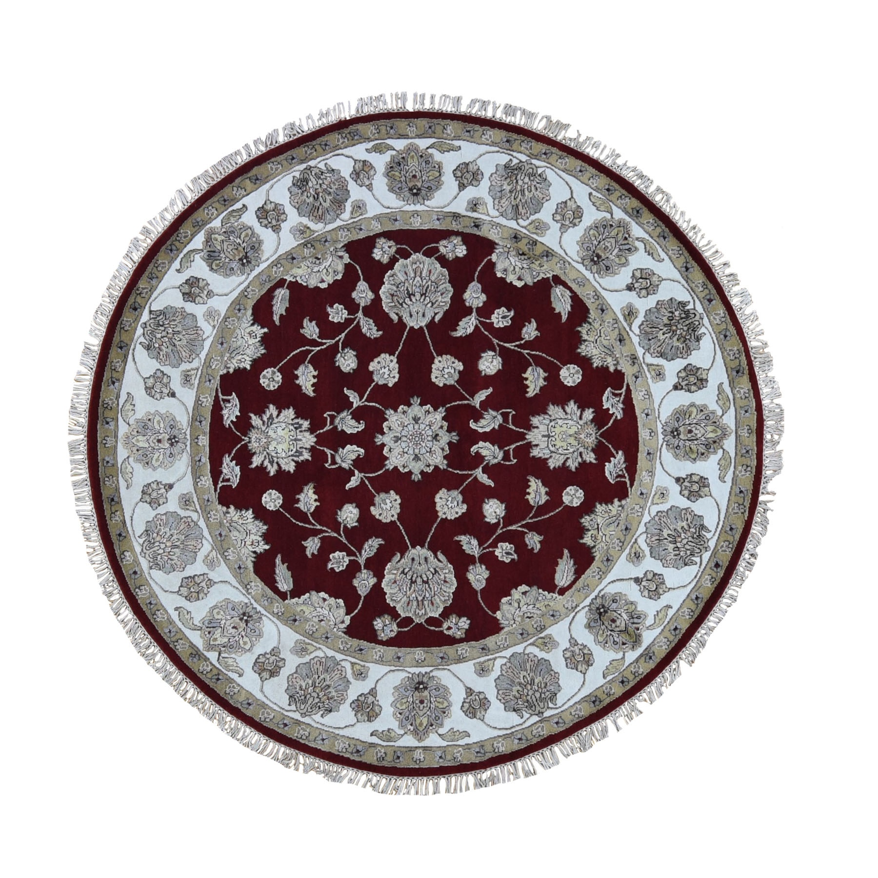 6'x6' Burgundy Half Wool And Half Silk Rajasthan Round Thick And Plush Oriental Hand Knotted Rug