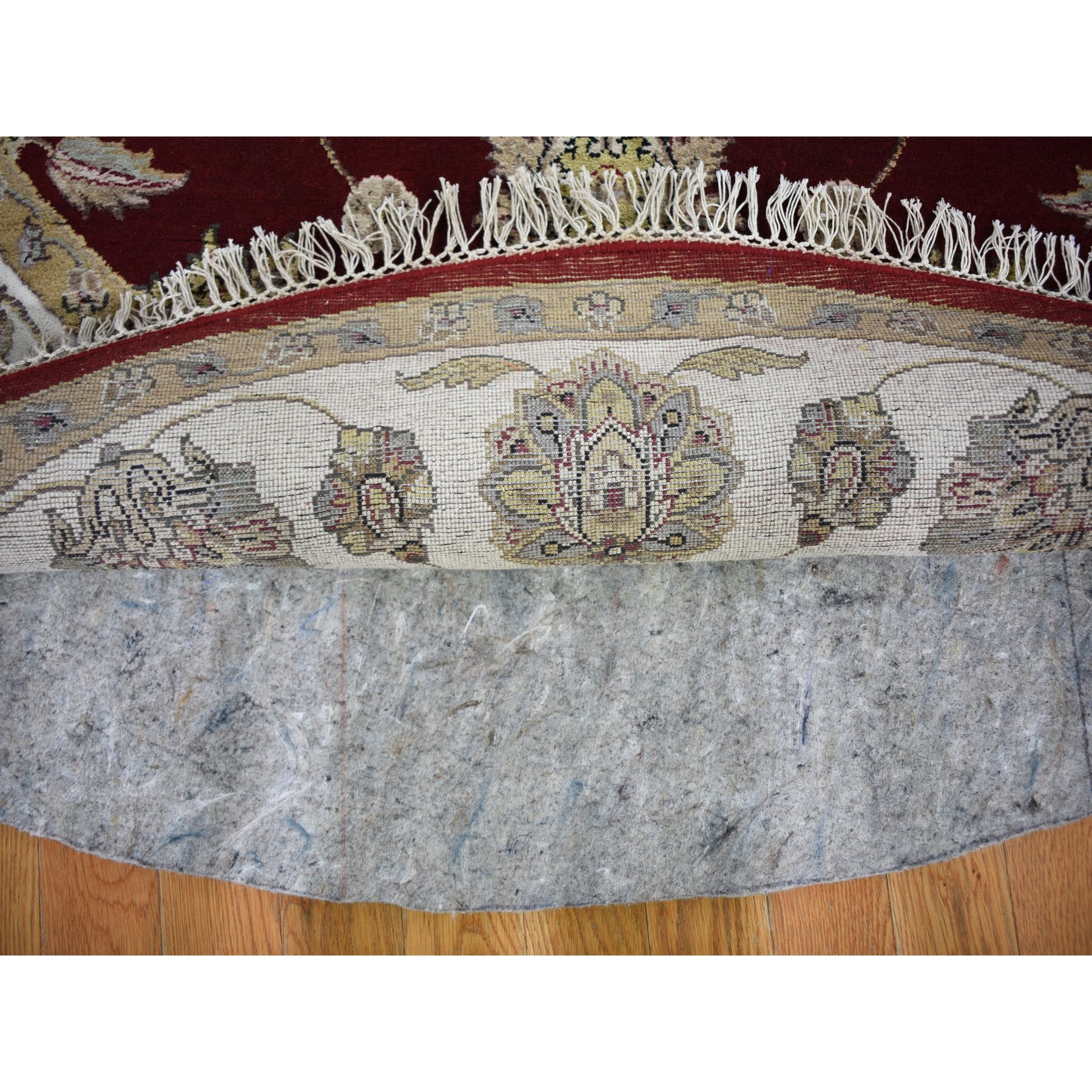 6-x6- Burgundy Half Wool And Half Silk Rajasthan Round Thick And Plush Oriental Hand Knotted Rug