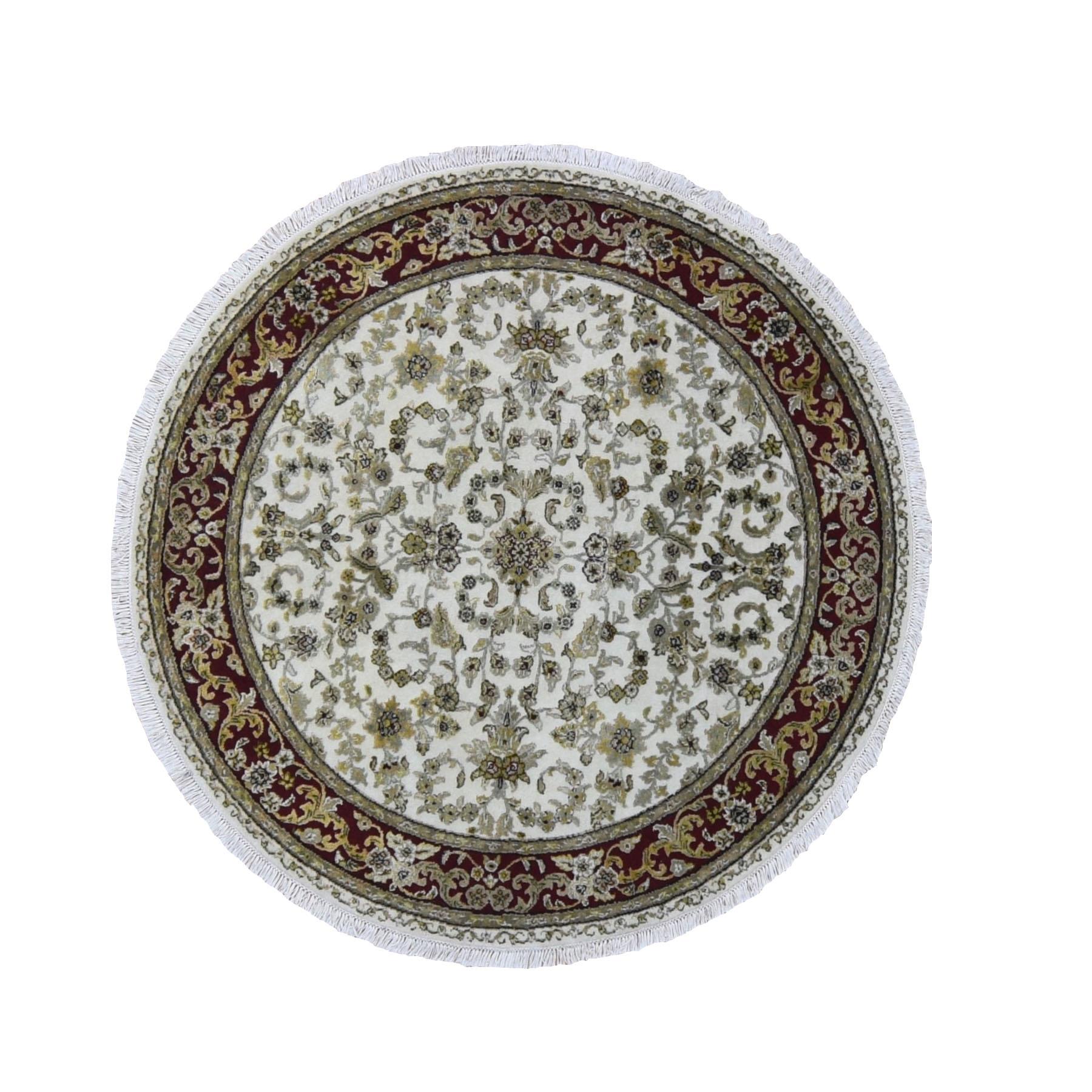 "5'3""x5'3"" Ivory Half Wool Half And Half Silk Rajasthan Round Hand Knotted Oriental Rug"
