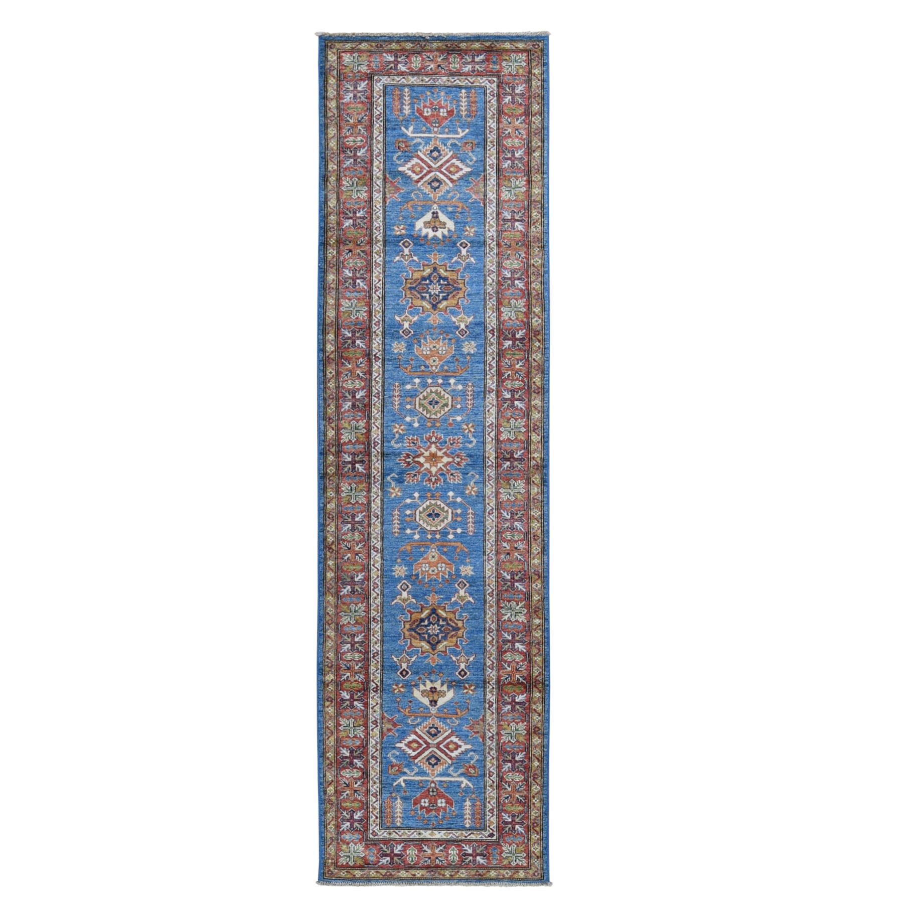 "2'8""X10'1"" Blue Afghan Super Kazak Tribal Design Hand Knotted Natural Wool Runner Oriental Rug moad99c9"