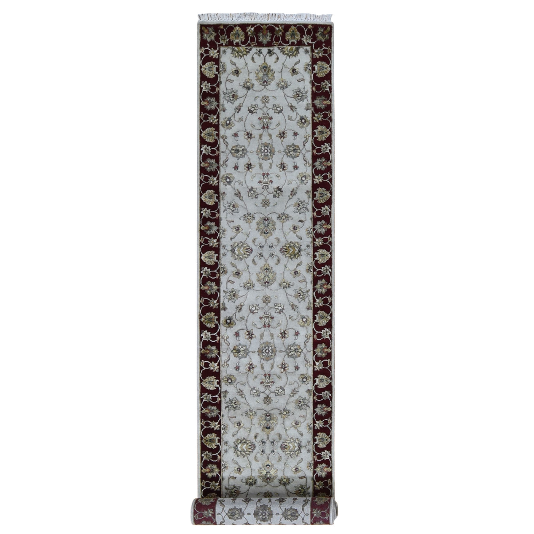 "2'8""x14'1"" Ivory Half Wool And Half Silk Thick And Plush XL Runner Rajasthan Oriental Rug"