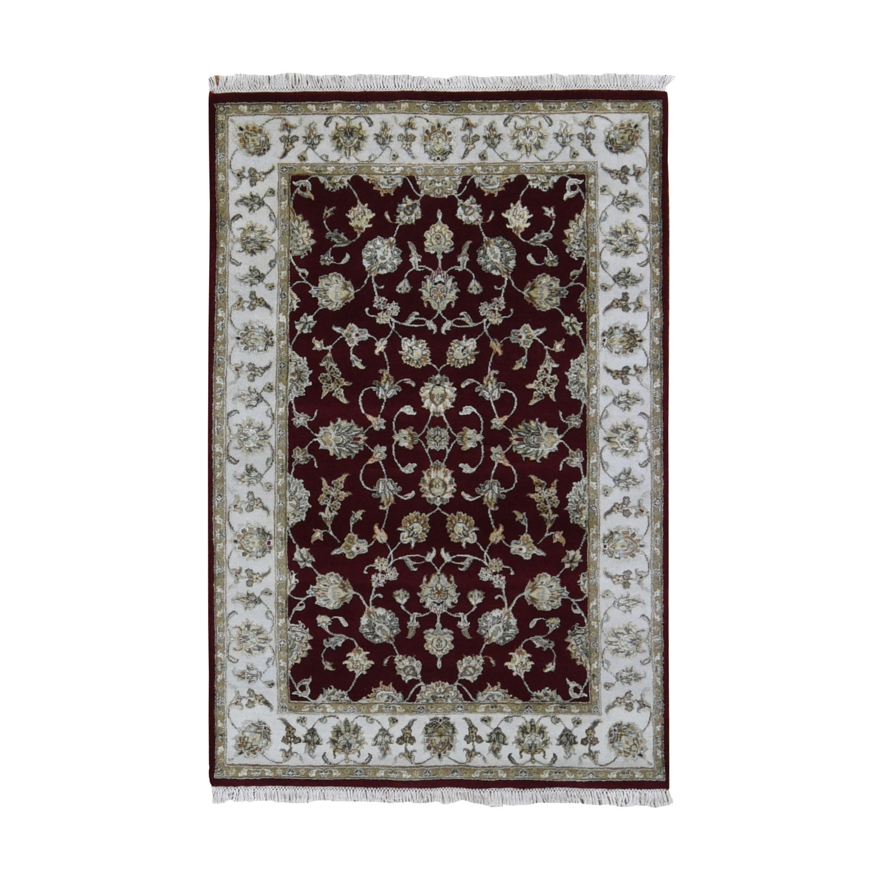 "4'1""x6'3"" Burgundy Half Wool And Half Silk Rajasthan Thick And Plush Oriental Rug"