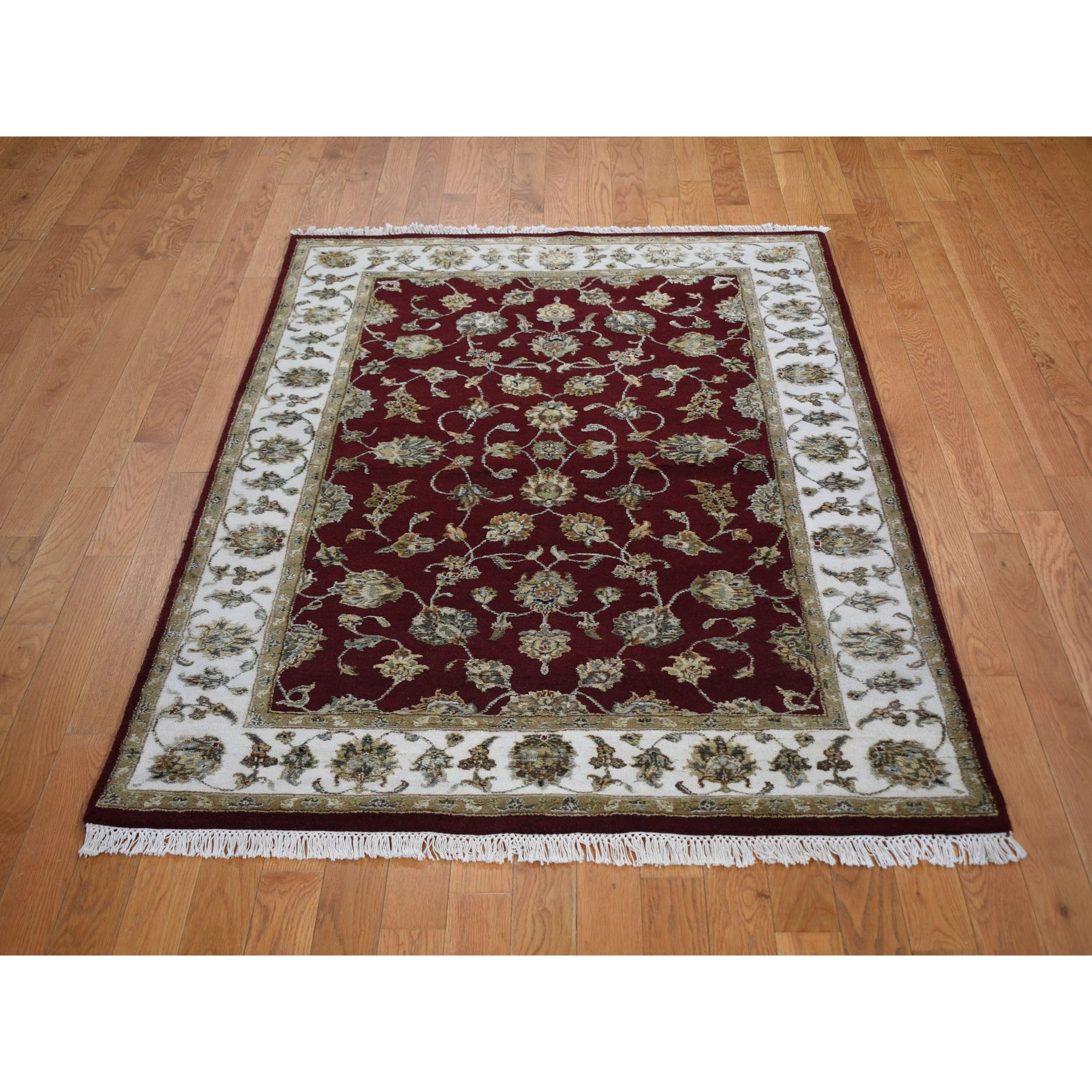 4-1 x6-3  Burgundy Half Wool And Half Silk Rajasthan Thick And Plush Oriental Rug