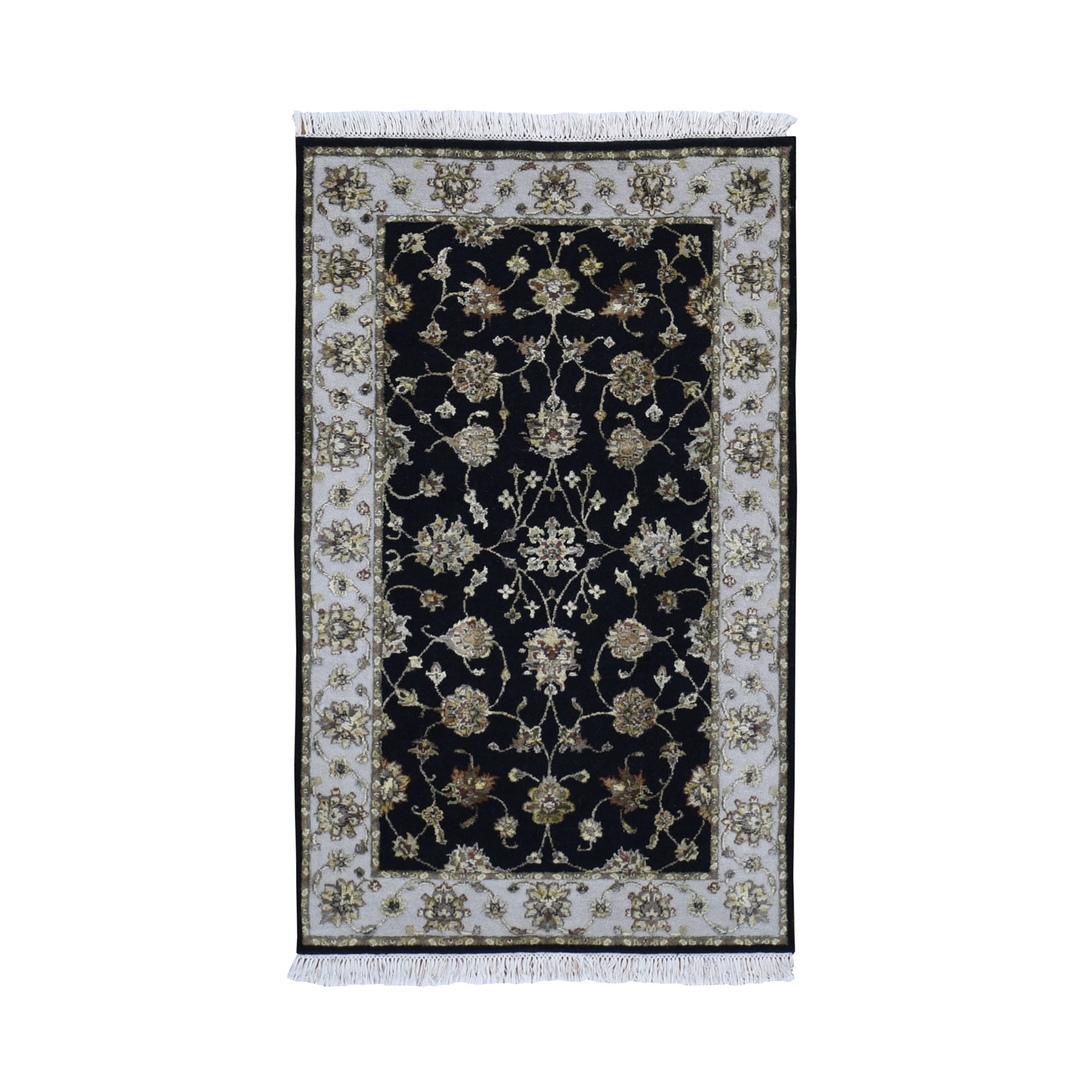 "3'1""x5'1"" Black Half Wool And Half Silk Rajasthan Hand Knotted Oriental Rug"