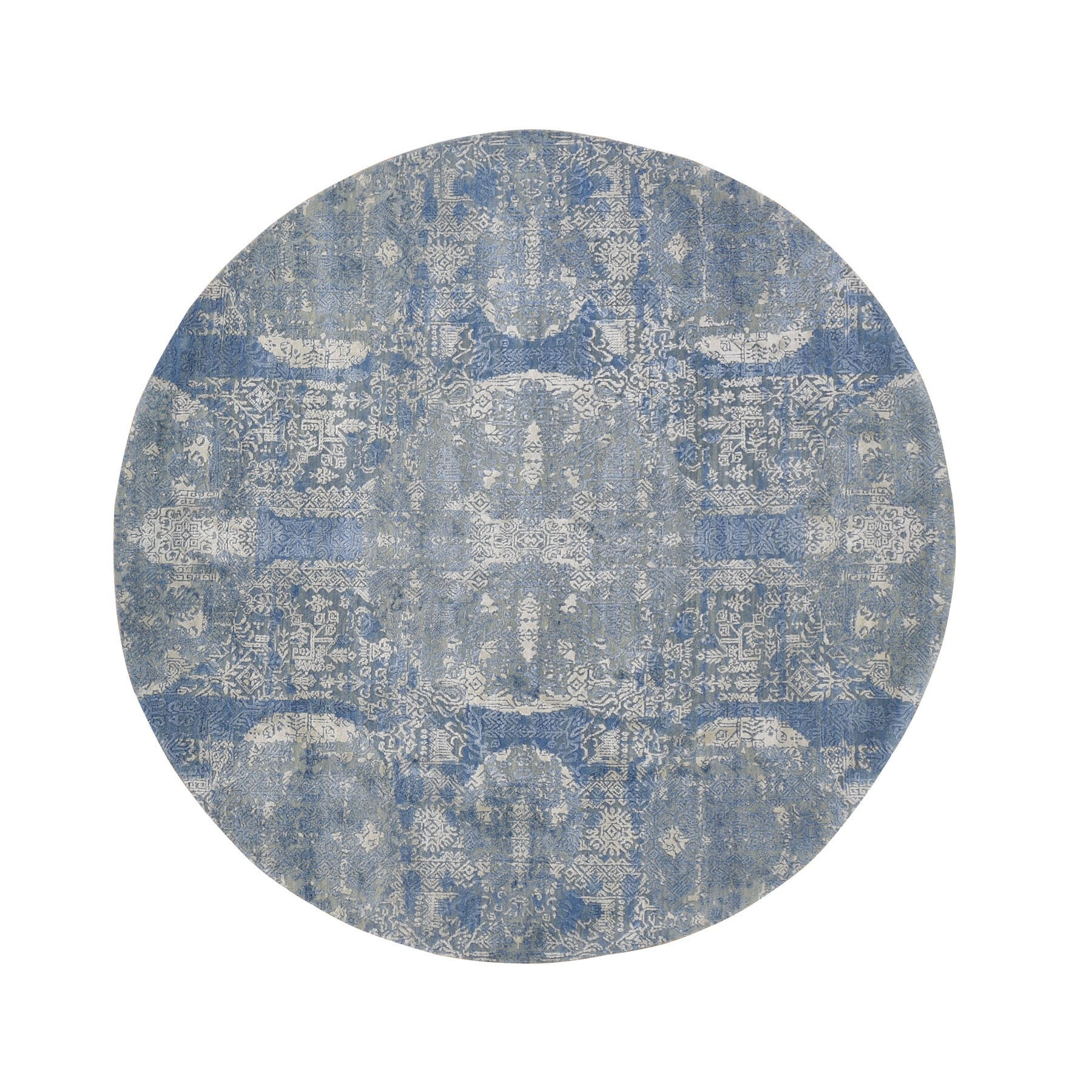 6'X6' Round Blue Wool And Pure Silk Jewellery Design Hand Knotted Oriental Rug moad99d6