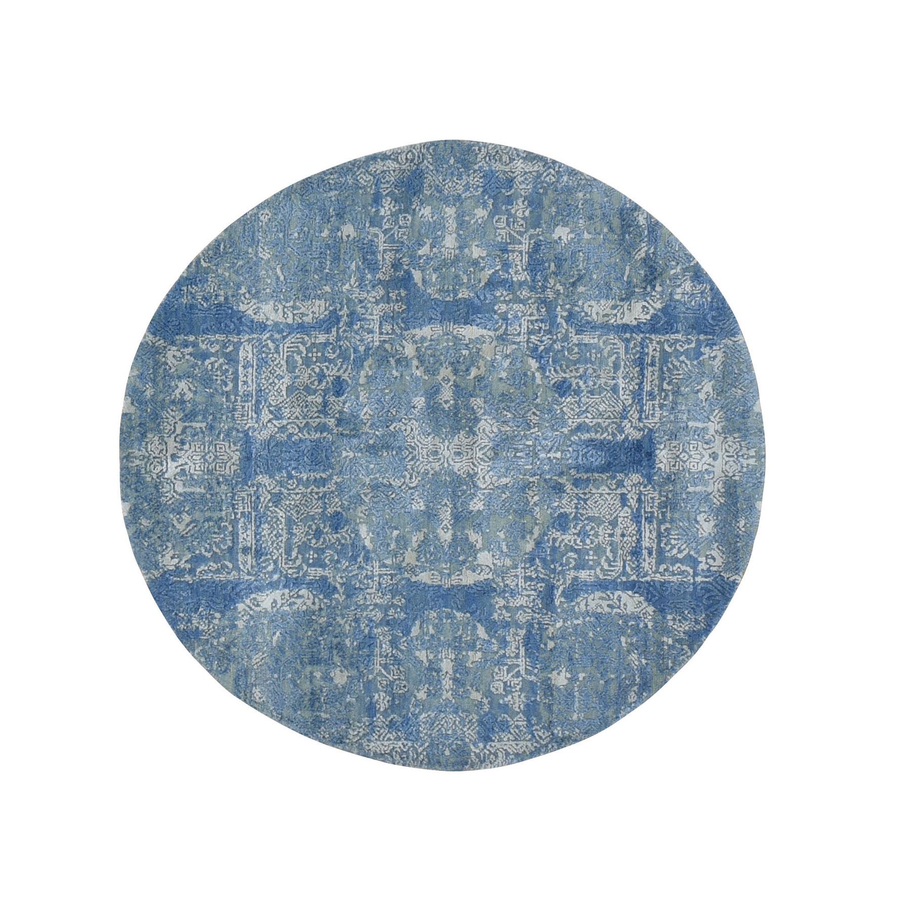 4'X4' Round Blue Wool And Pure Silk Jewellery Design Hand Knotted Oriental Rug moad99d9