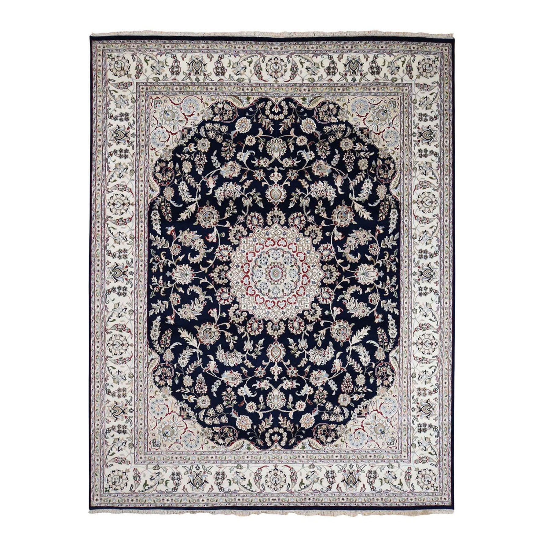 "7'10""x10' Navy Blue Wool And Silk 250 KPSI Nain Hand Knotted Oriental Rug"