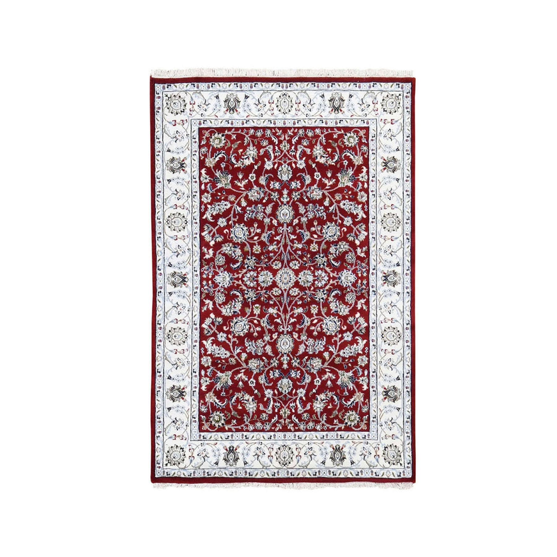 "3'1""x5'2"" Red Nain Wool And Silk All Over Design 250 KPSI Hand Knotted Oriental Rug"