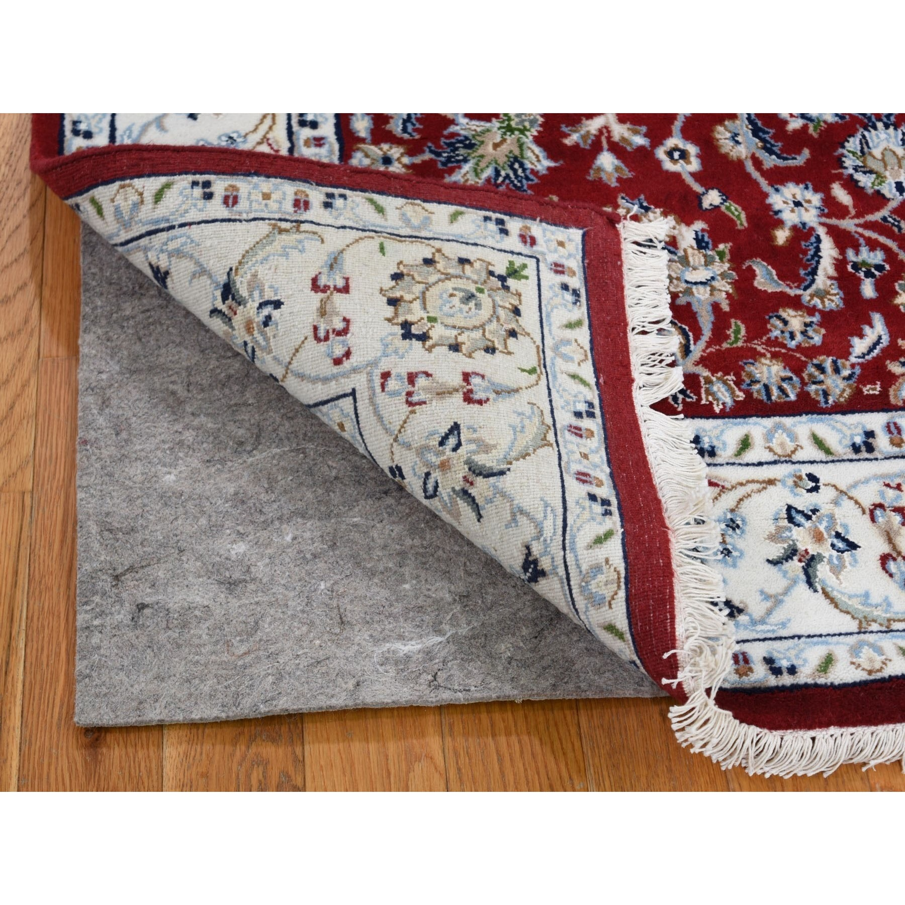 3-1 x5-2  Red Nain Wool And Silk All Over Design 250 KPSI Hand Knotted Oriental Rug