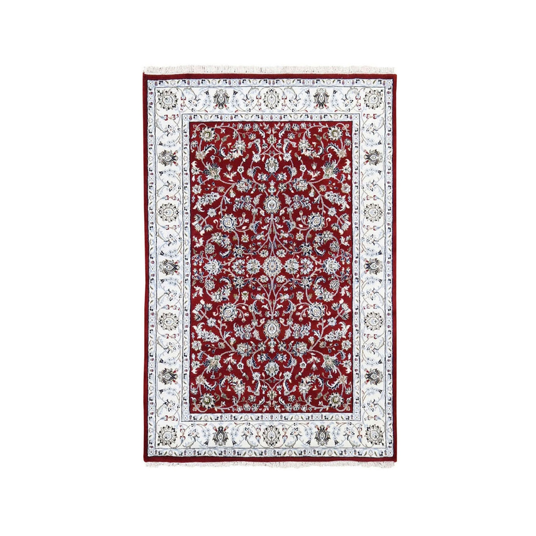 "3'2""x5'3"" Red Nain Wool And Silk All Over Design 250 KPSI Hand Knotted Oriental Rug"