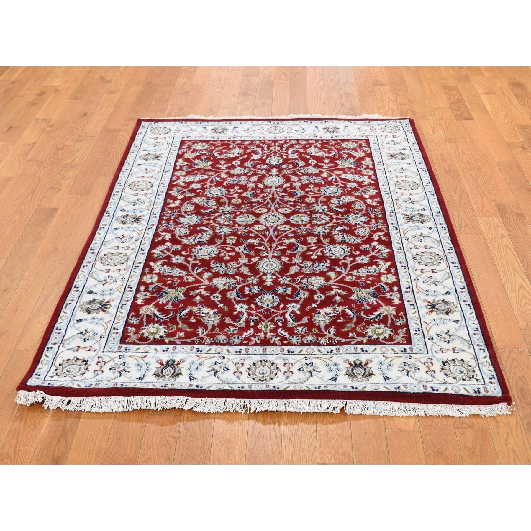 3-2 x5-3  Red Nain Wool And Silk All Over Design 250 KPSI Hand Knotted Oriental Rug