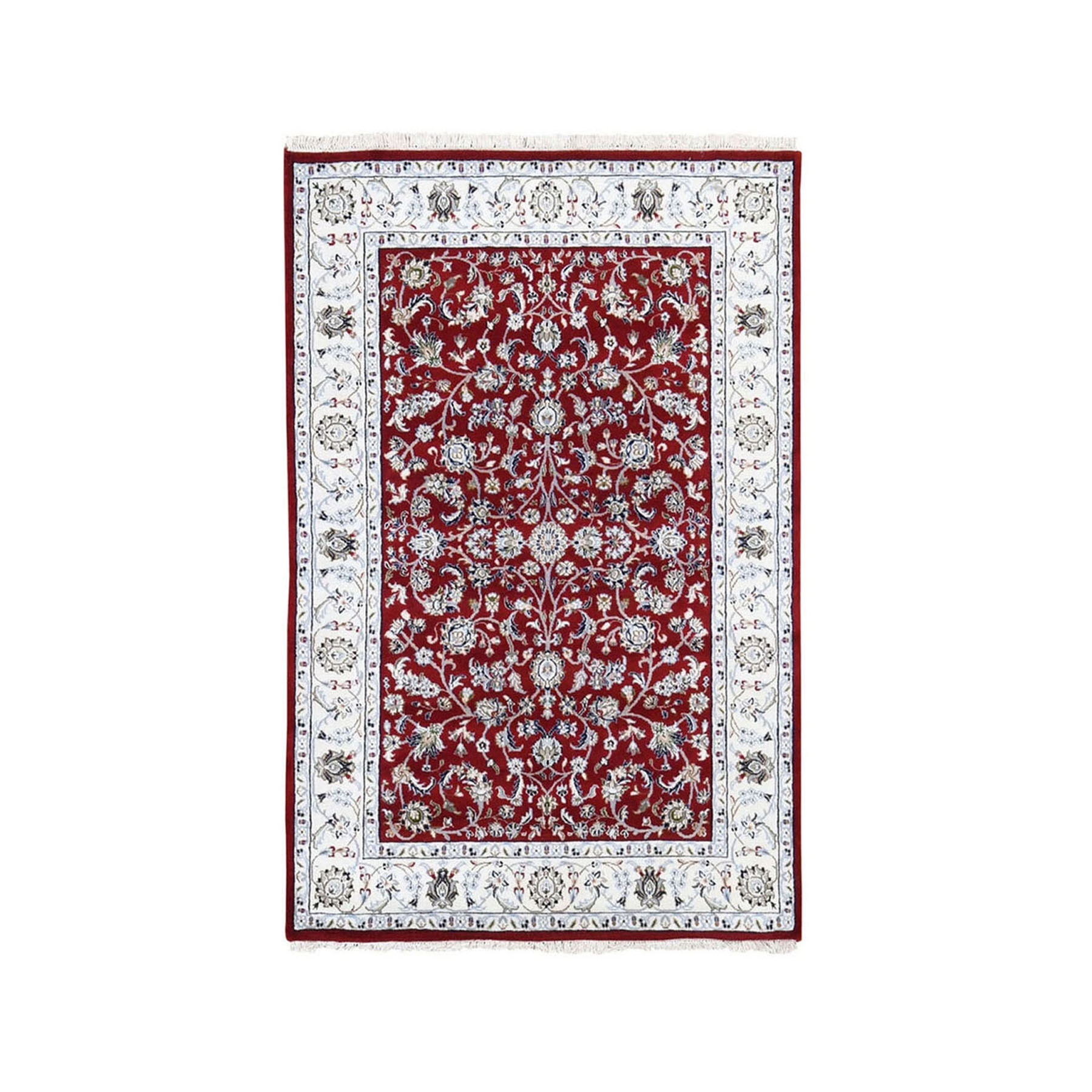"3'1""x5'1"" Red Nain Wool And Silk All Over Design 250 KPSI Hand Knotted Oriental Rug"