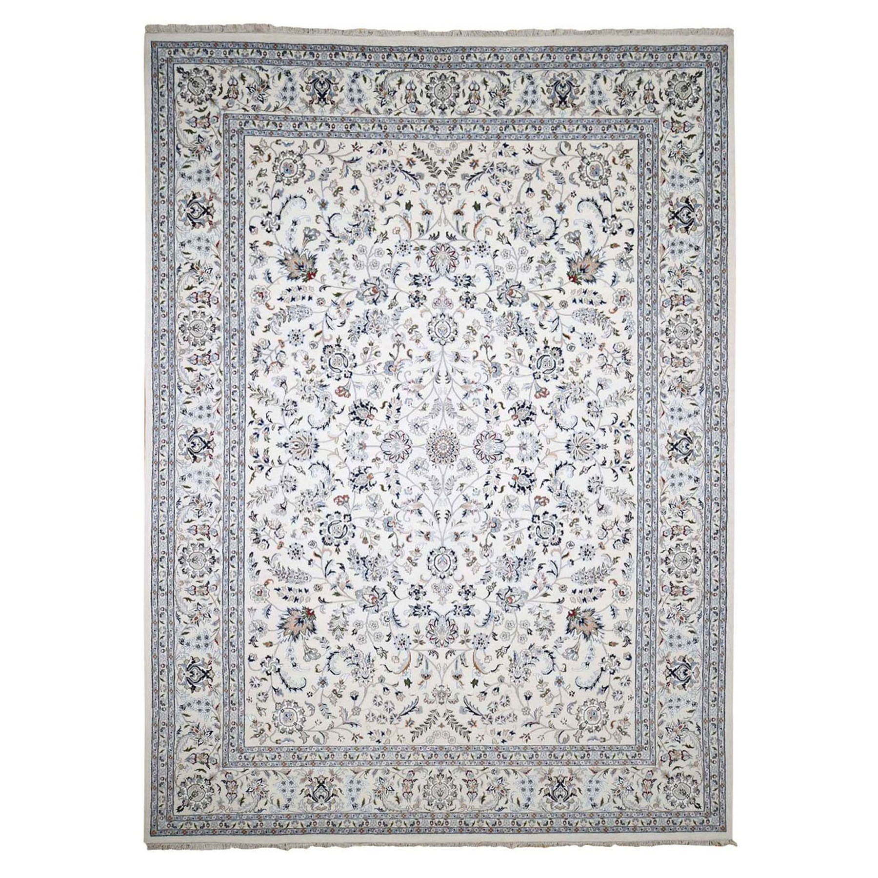 "9'7""x13'10"" Ivory Wool And Silk 250 KPSI All Over Design Nain Hand-Knotted Oriental Rug"