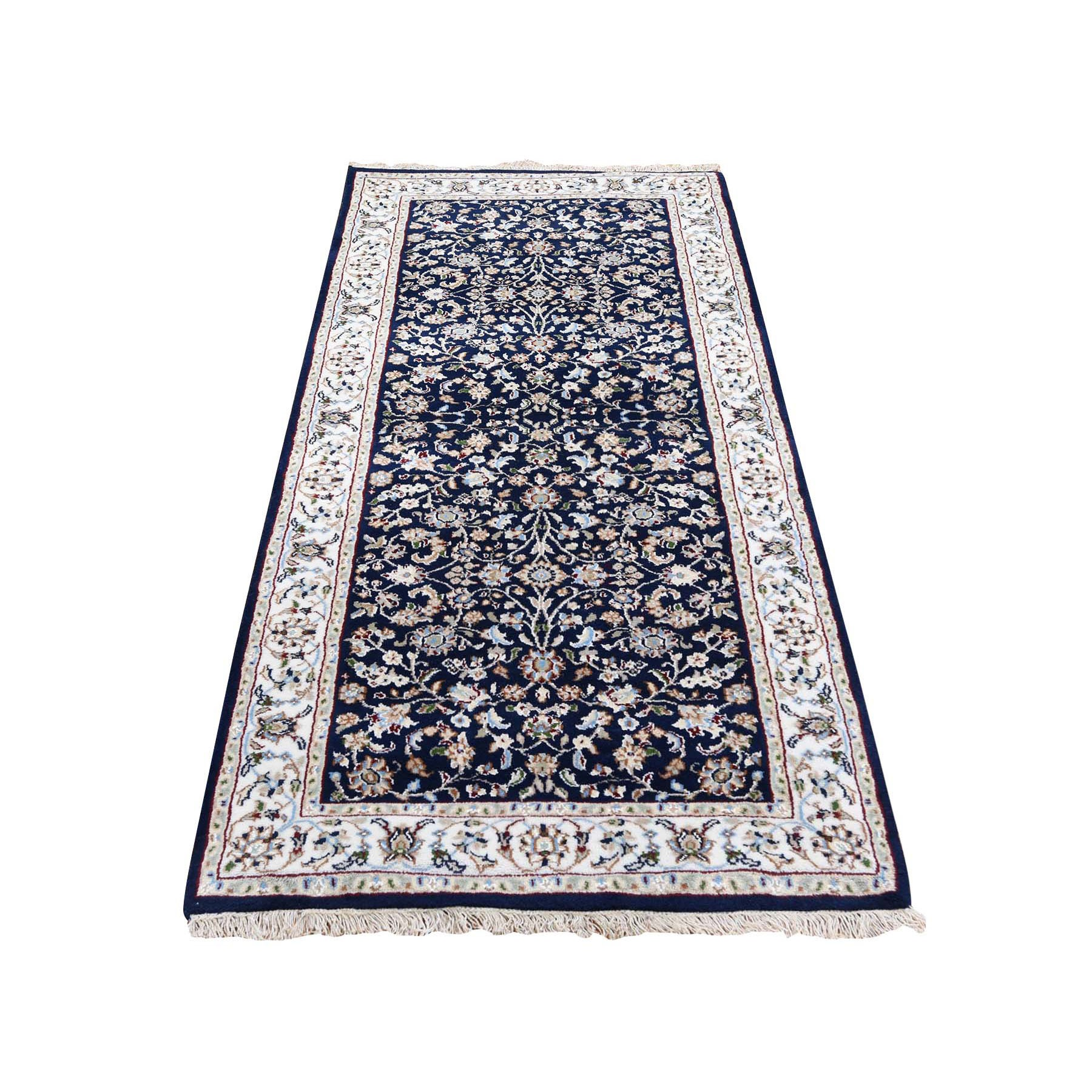 "2'8""x6' Wool And Silk 250 KPSI Navy Blue All Over Design Nain Runner Hand Knotted Oriental Rug"