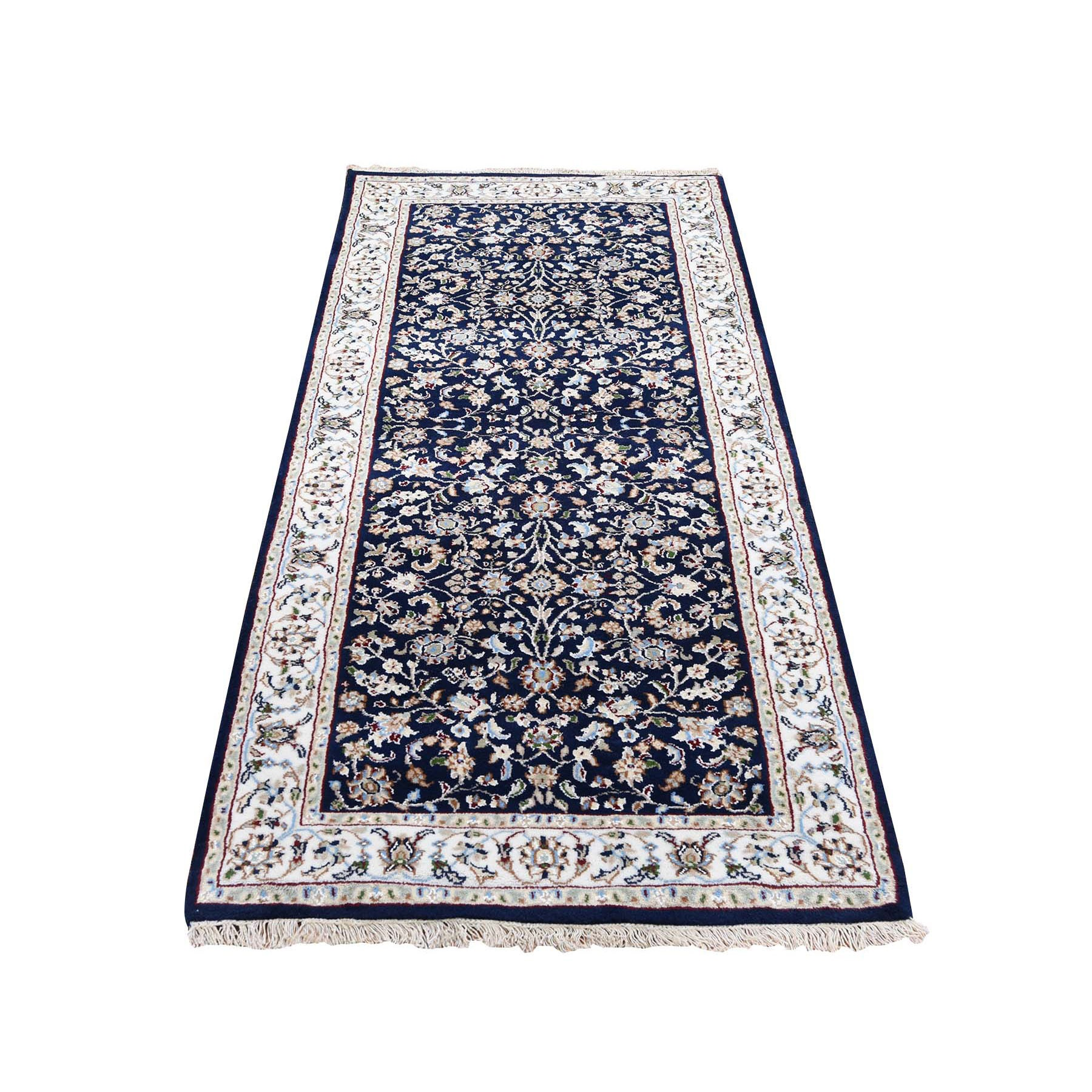 "2'8""x6'1"" Wool And Silk 250 KPSI Navy Blue All Over Design Nain Runner Hand Knotted Oriental Rug"
