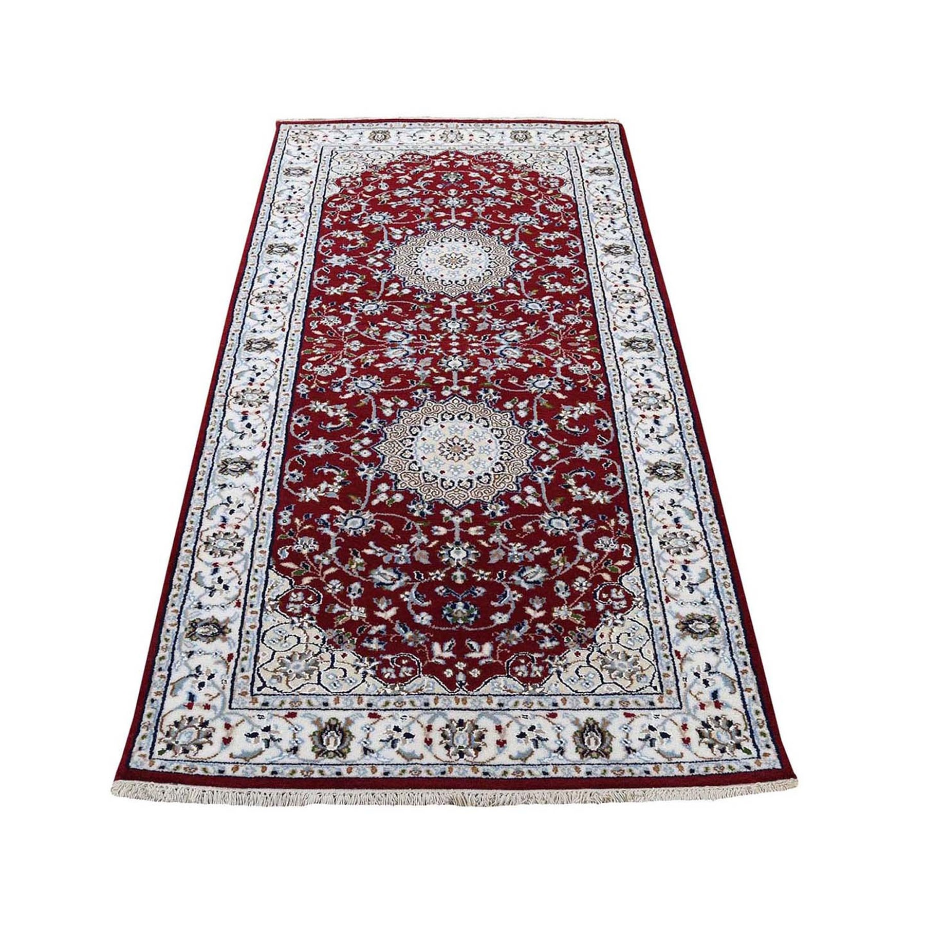 "2'8""x6'1"" Red Nain Runner Wool And Silk 250 KPSI Hand Knotted Oriental Rug"
