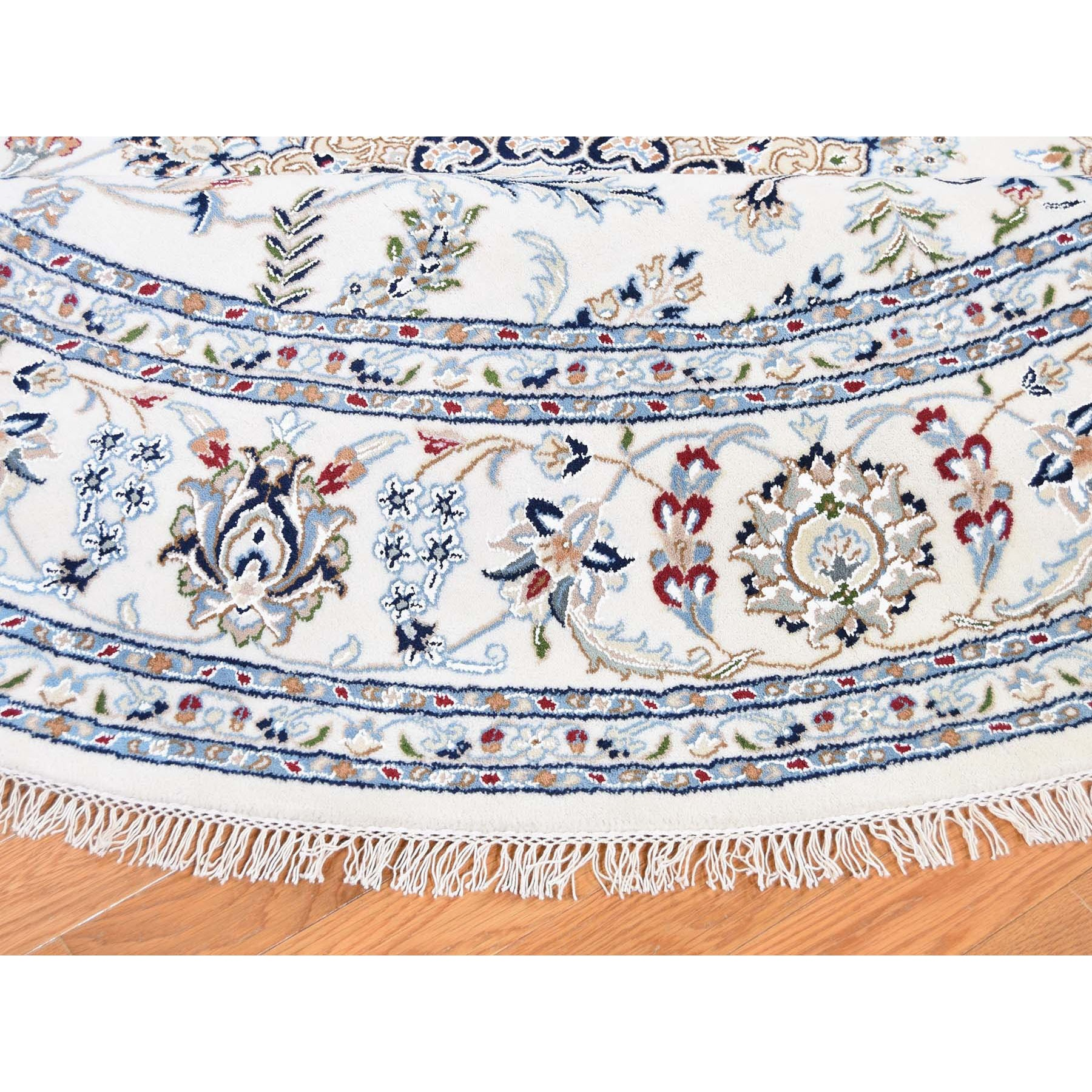 """7'2""""x7'2"""" Round Ivory Nain 250 KPSI Wool And Silk Hand Knotted Oriental Rug"""