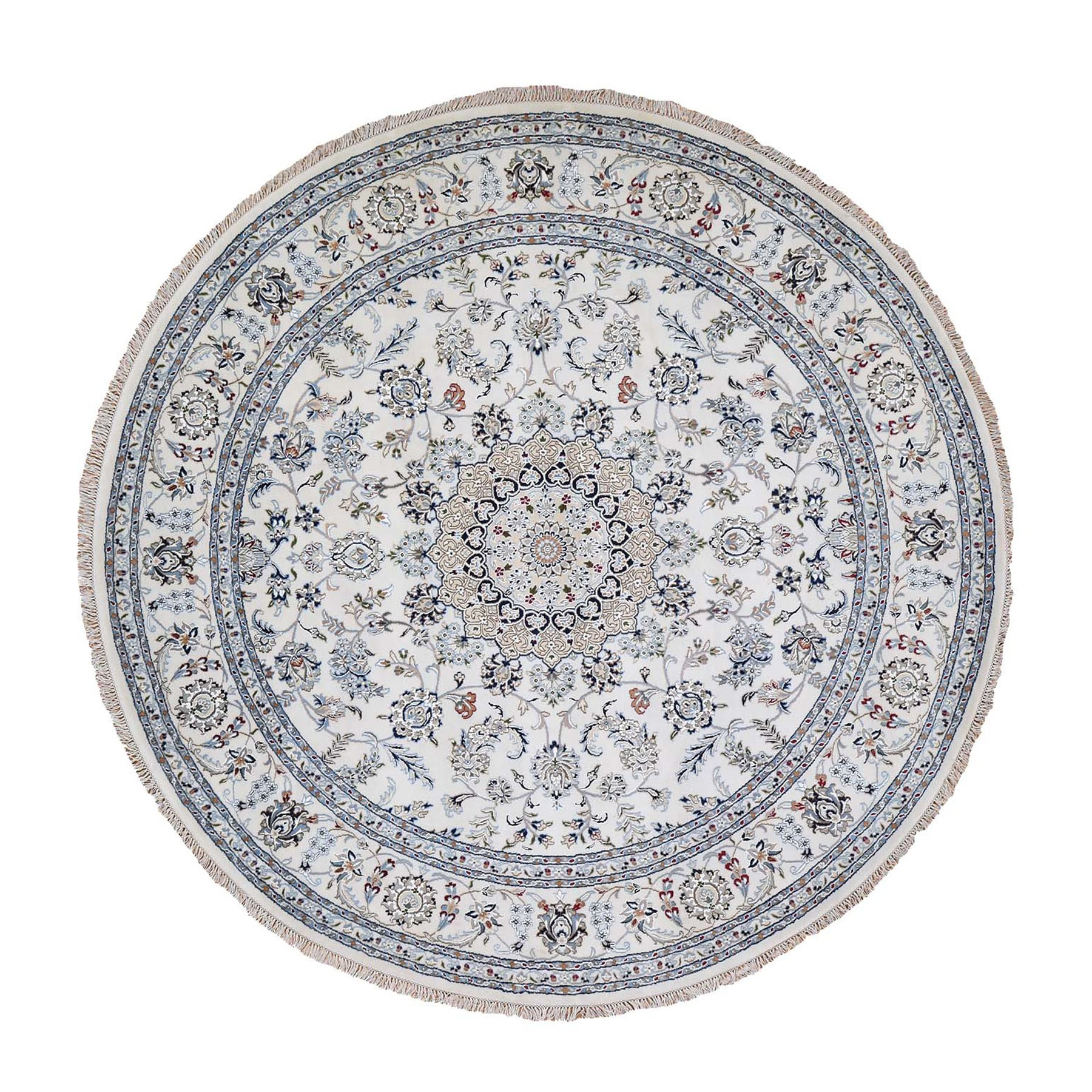 "6'10""X6'10"" Round Wool And Silk 250 Kpsi Ivory Nain Hand Knotted Oriental Rug moad9987"