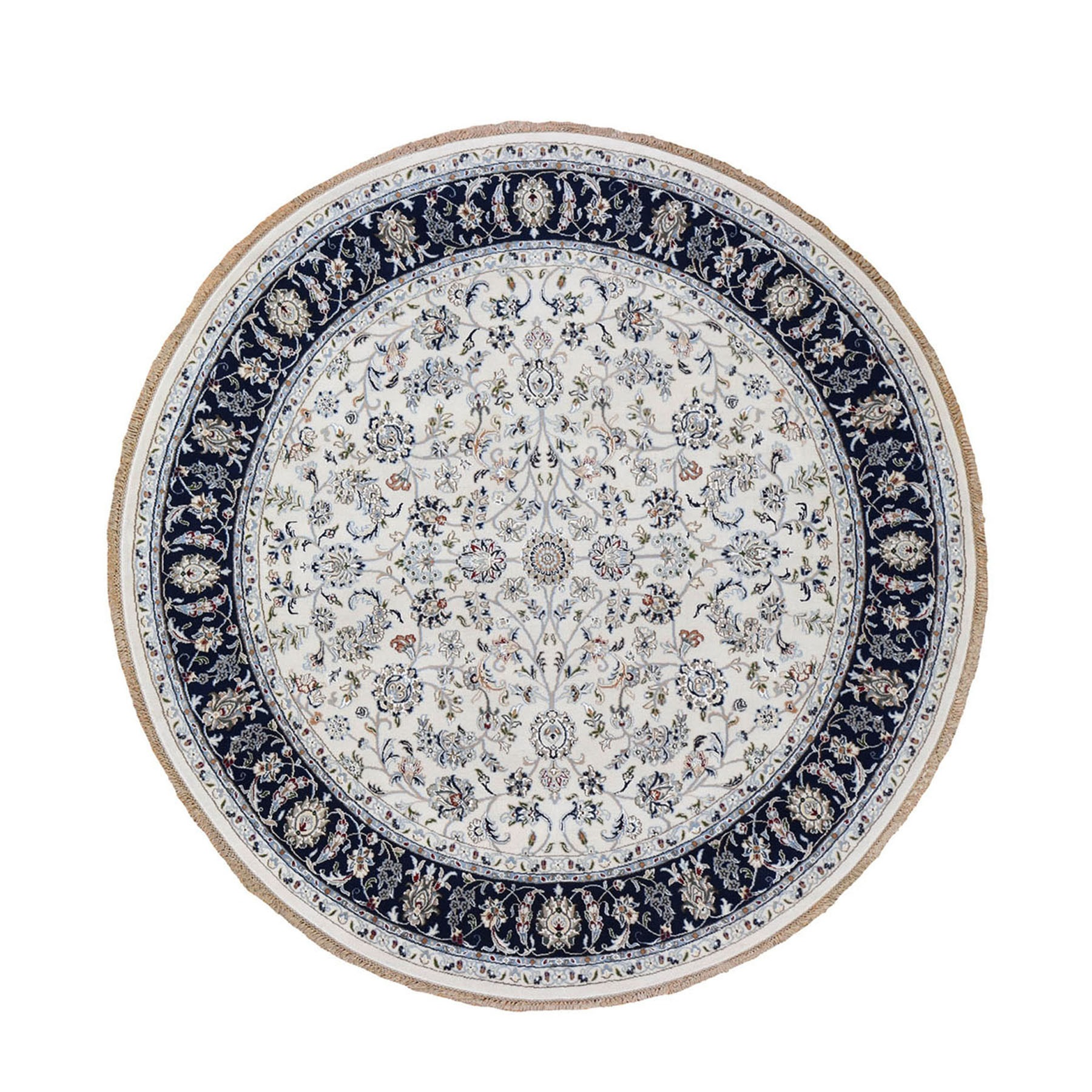 "8'1""x8'1"" Ivory Nain Wool And Silk 250 KPSI All Over Design Hand Knotted Round Oriental Rug"