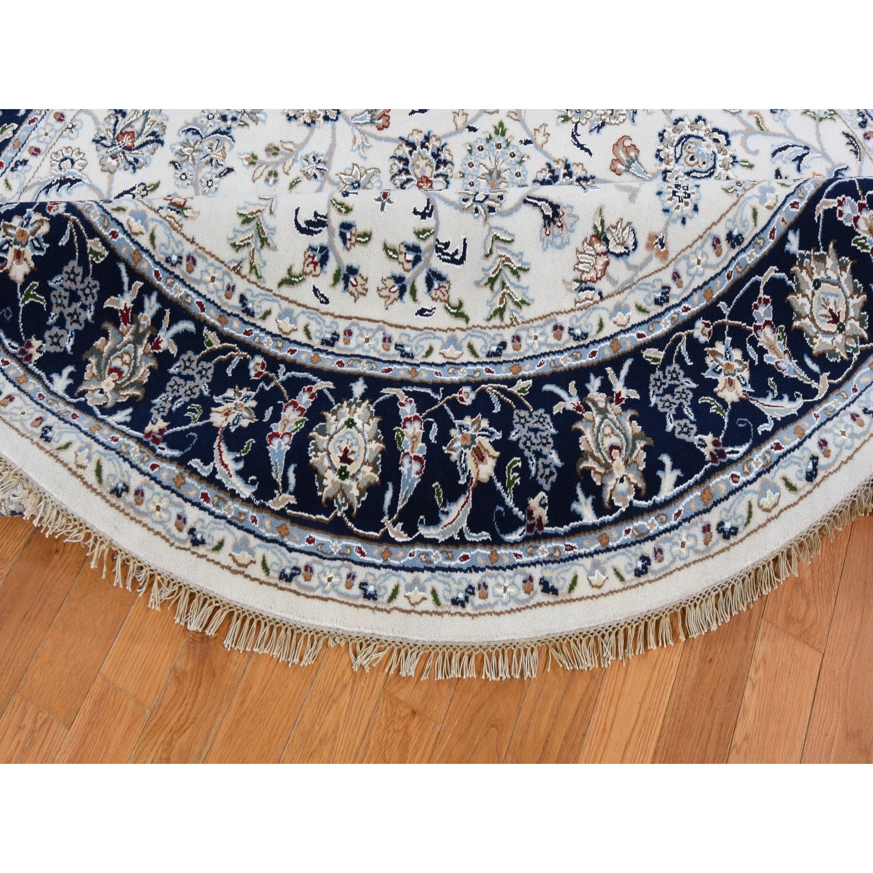 8-1 x8-1  Ivory Nain Wool And Silk 250 KPSI All Over Design Hand Knotted Round Oriental Rug