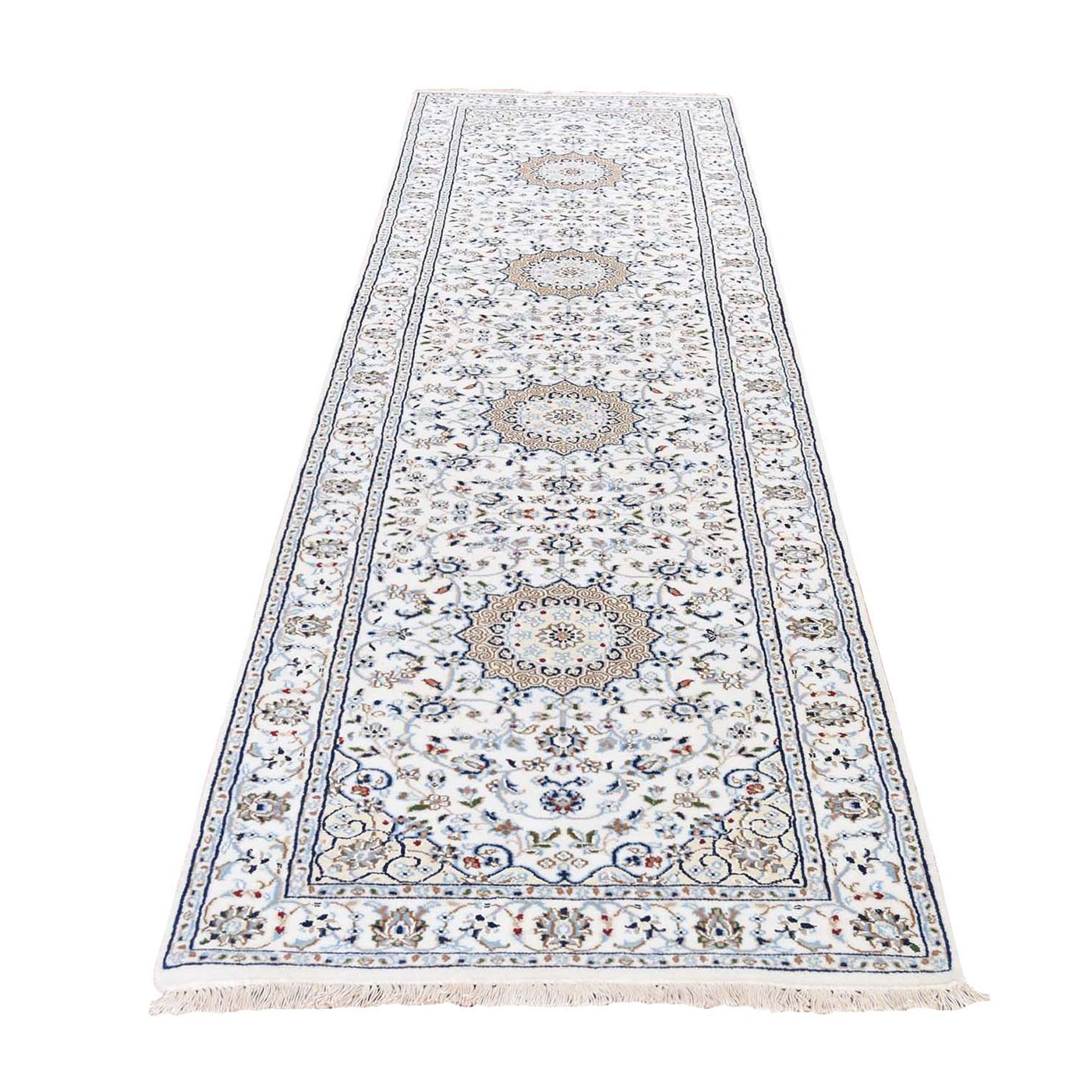 "2'8""x10'1"" Wool And Silk 250 KPSI Ivory Nain Hand Knotted Oriental Runner Rug"