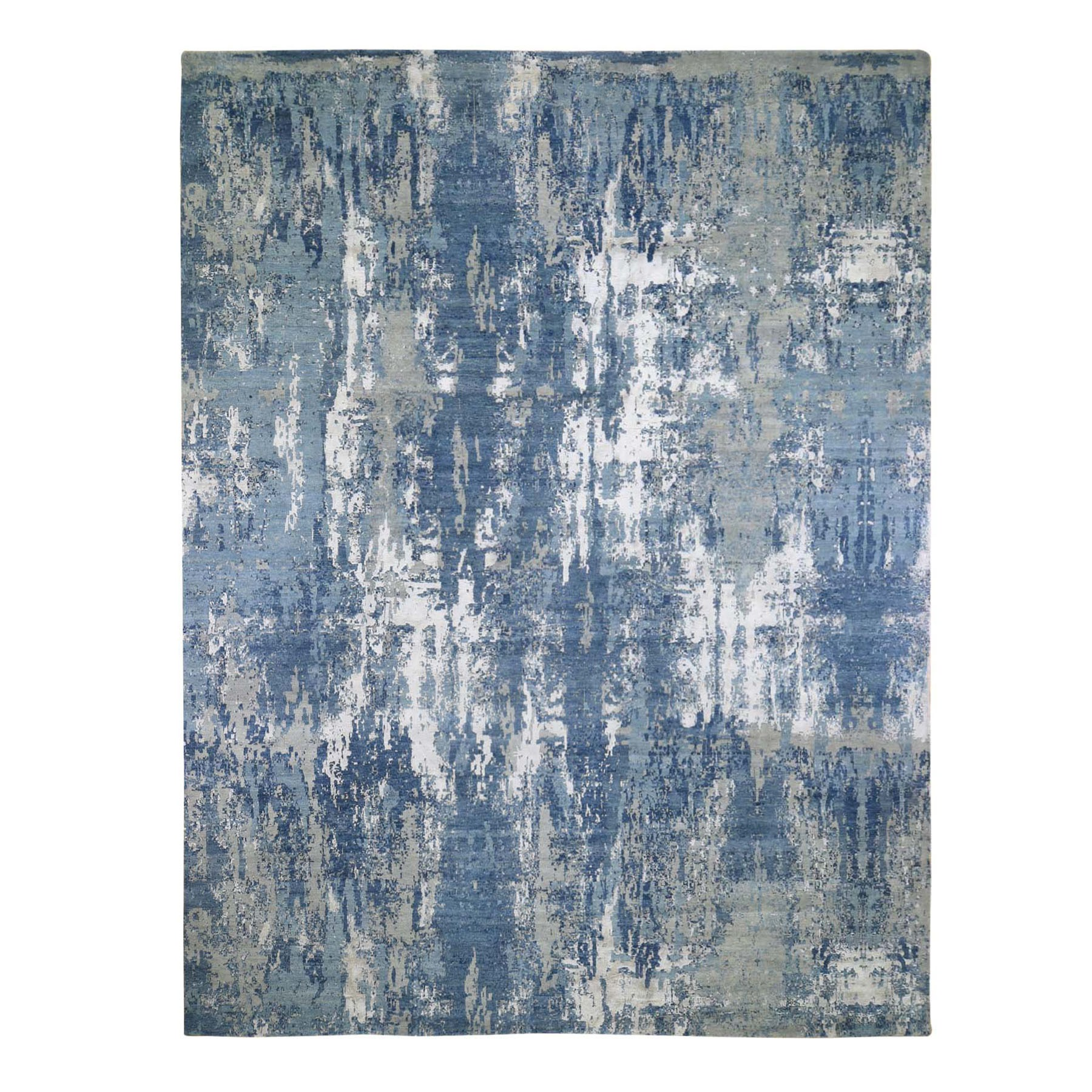 "12'2""X15'2"" Oversize Blue-Gray Abstract Design Wool And Pure Silk Hand Knotted Oriental Rug moad9996"