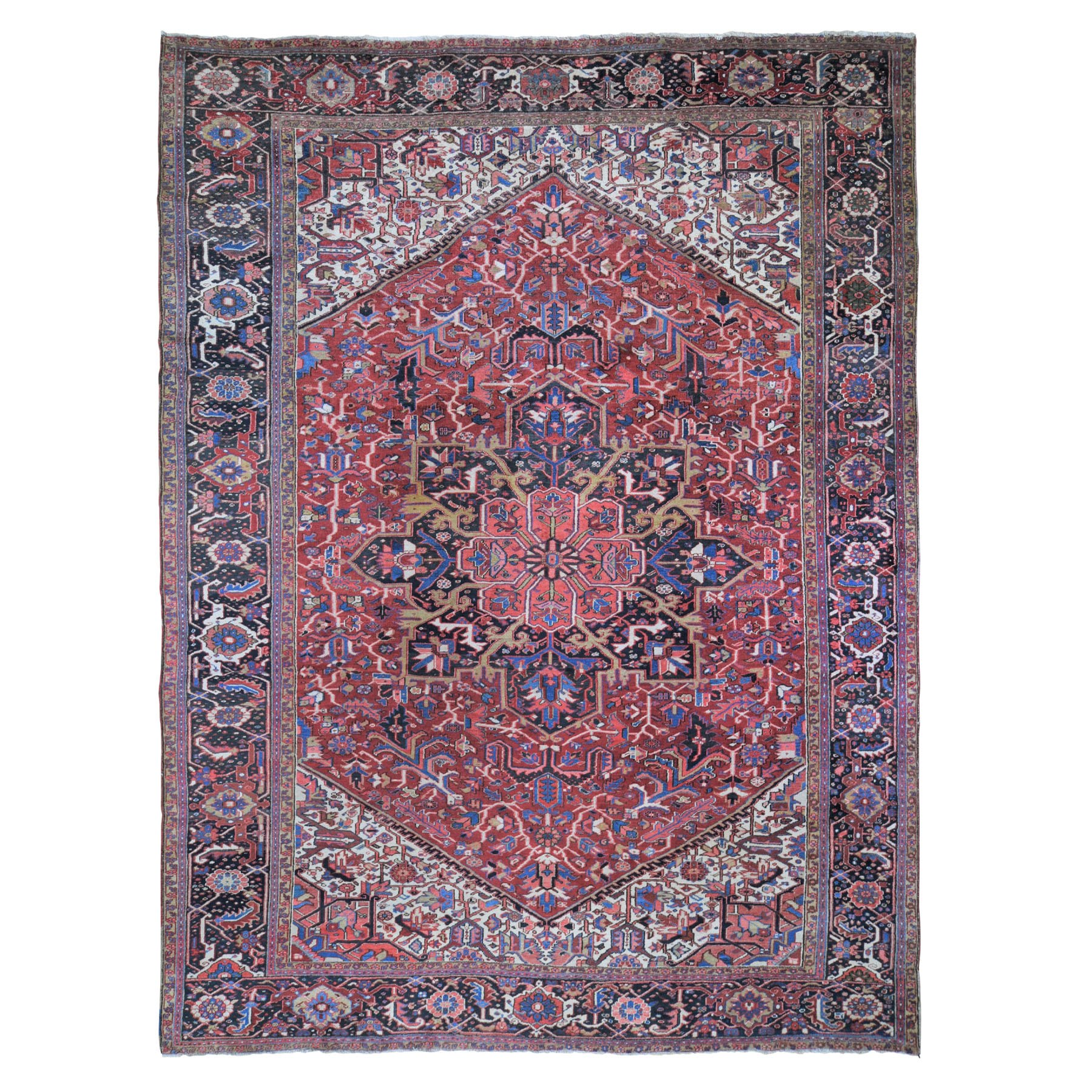 "10'10""X14'4"" Red Antique Persian Heriz Pure Wool Hand Knotted Exc Cond Xl Oriental Rug moad9997"