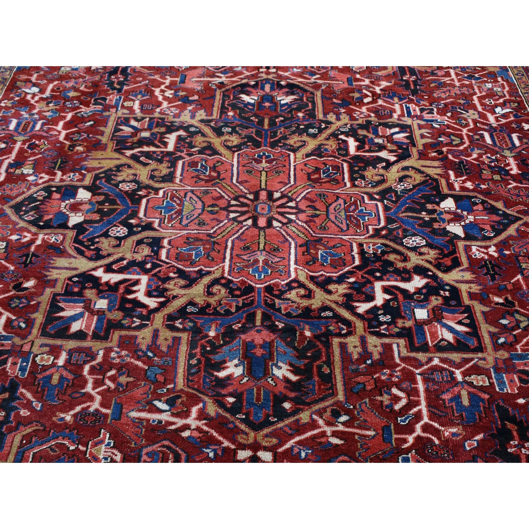10-10 x14-4  Red Antique Persian Heriz Pure Wool Hand Knotted Exc Cond XL Oriental Rug