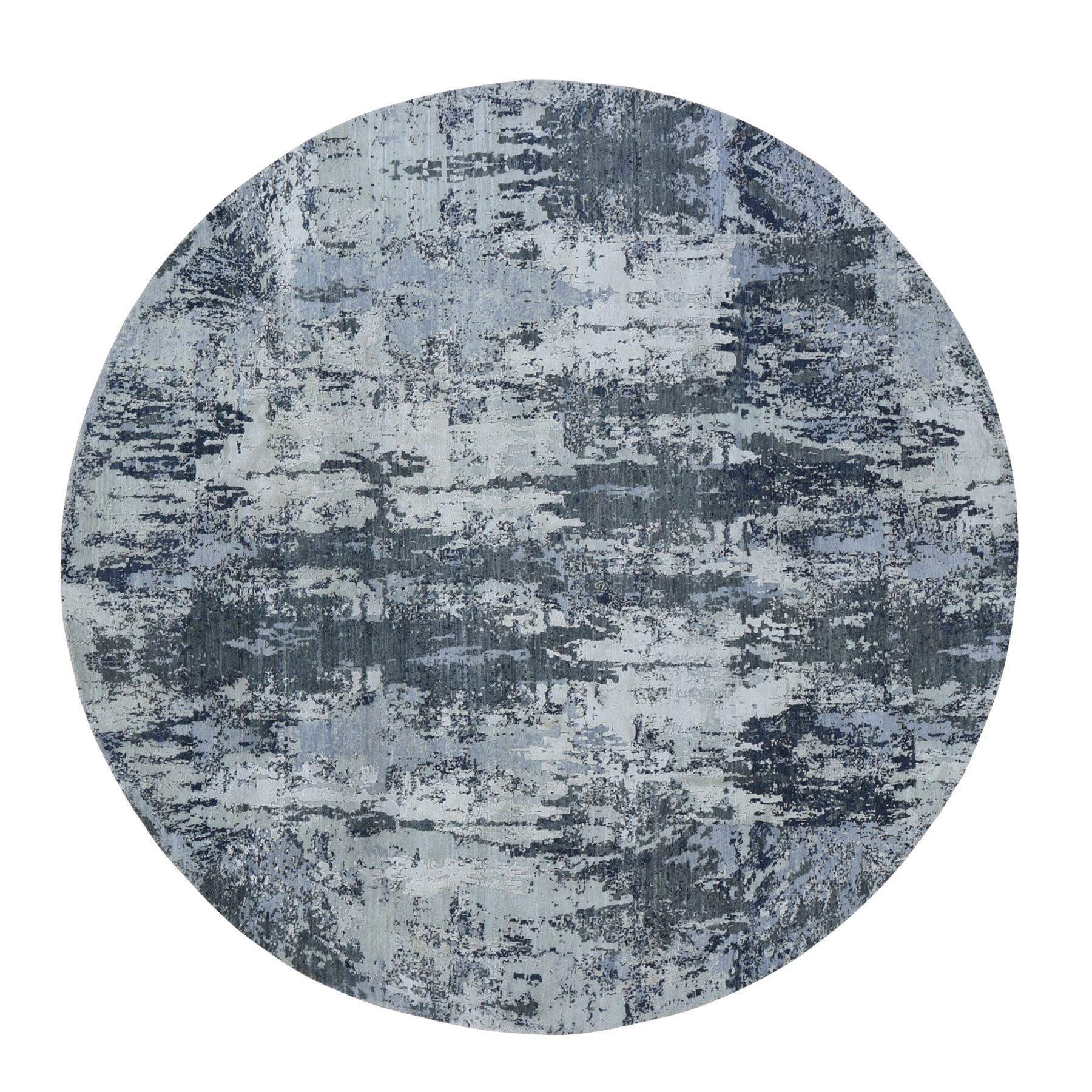 """8'1""""X8'1"""" Gray Round Abstract Wool And Pure Silk Hand Knotted Oriental Rug moad9999"""
