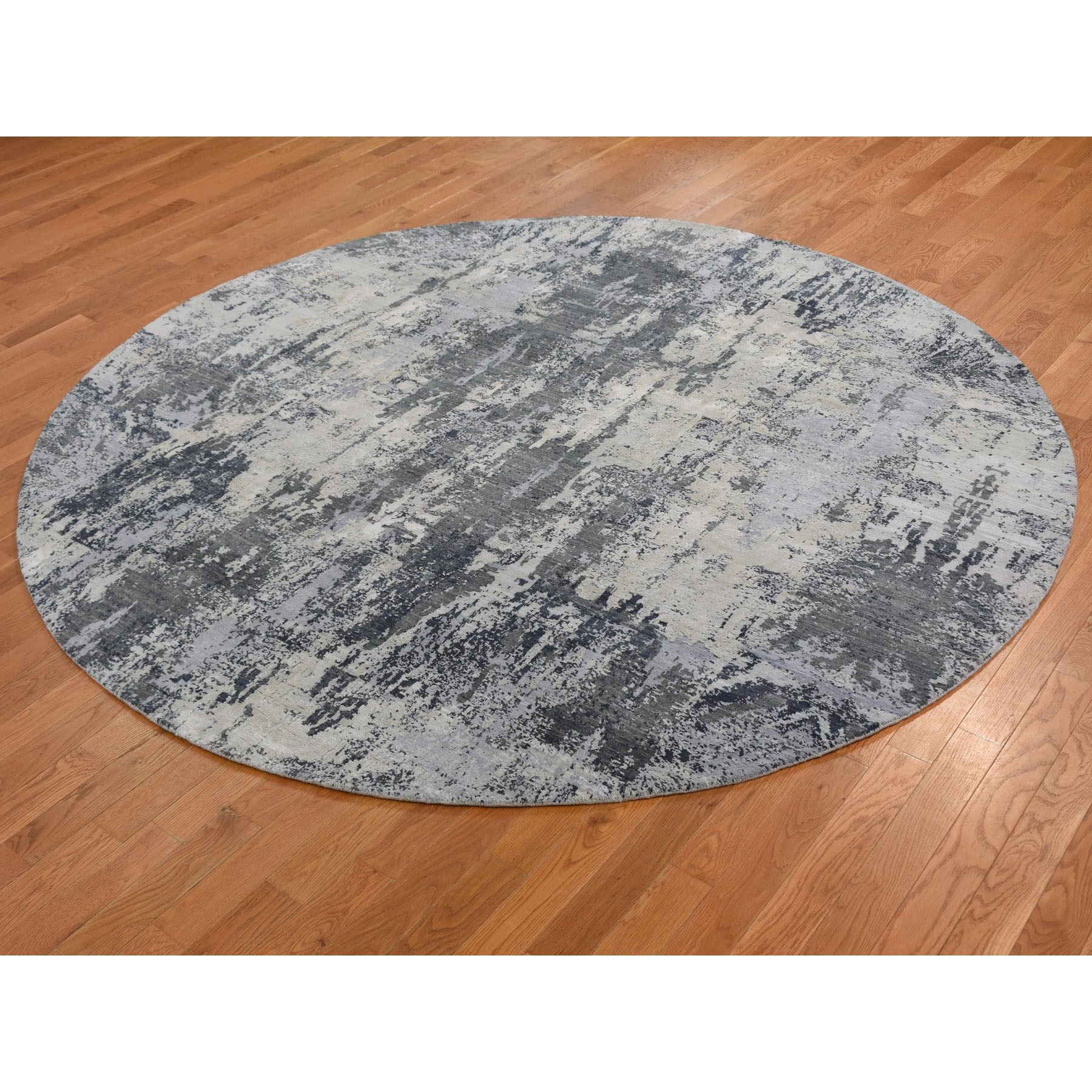 8-1 x8-1  Gray Round Abstract Wool And Pure Silk Hand Knotted Oriental Rug