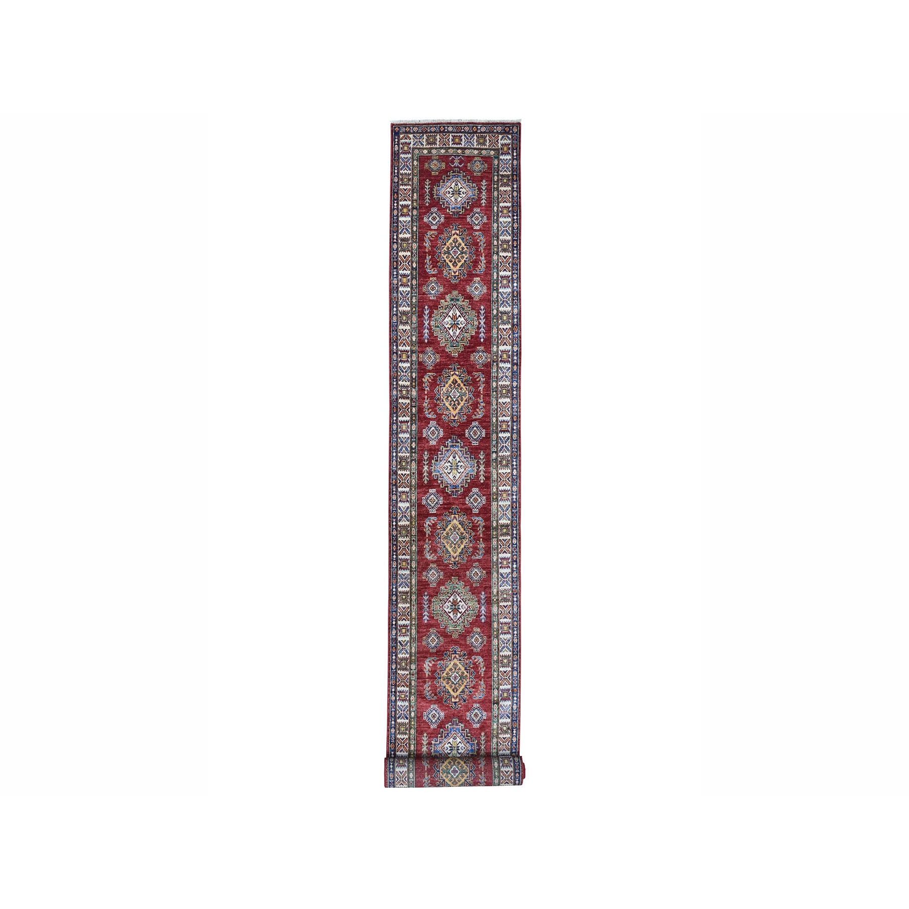 "2'8""X20'6"" Super Kazak Red Geometric Design Pure Wool Hand-Knotted Xl Runner Oriental Rug moae00b0"