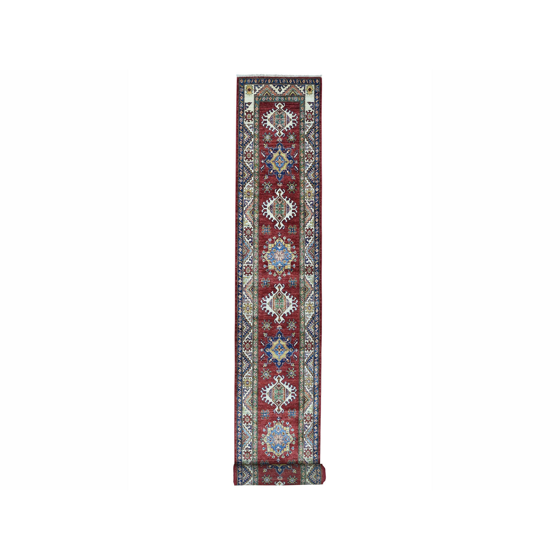 "2'8""X19'3"" Super Kazak Red Geometric Design Pure Wool Hand-Knotted Xl Runner Oriental Rug moae00bd"