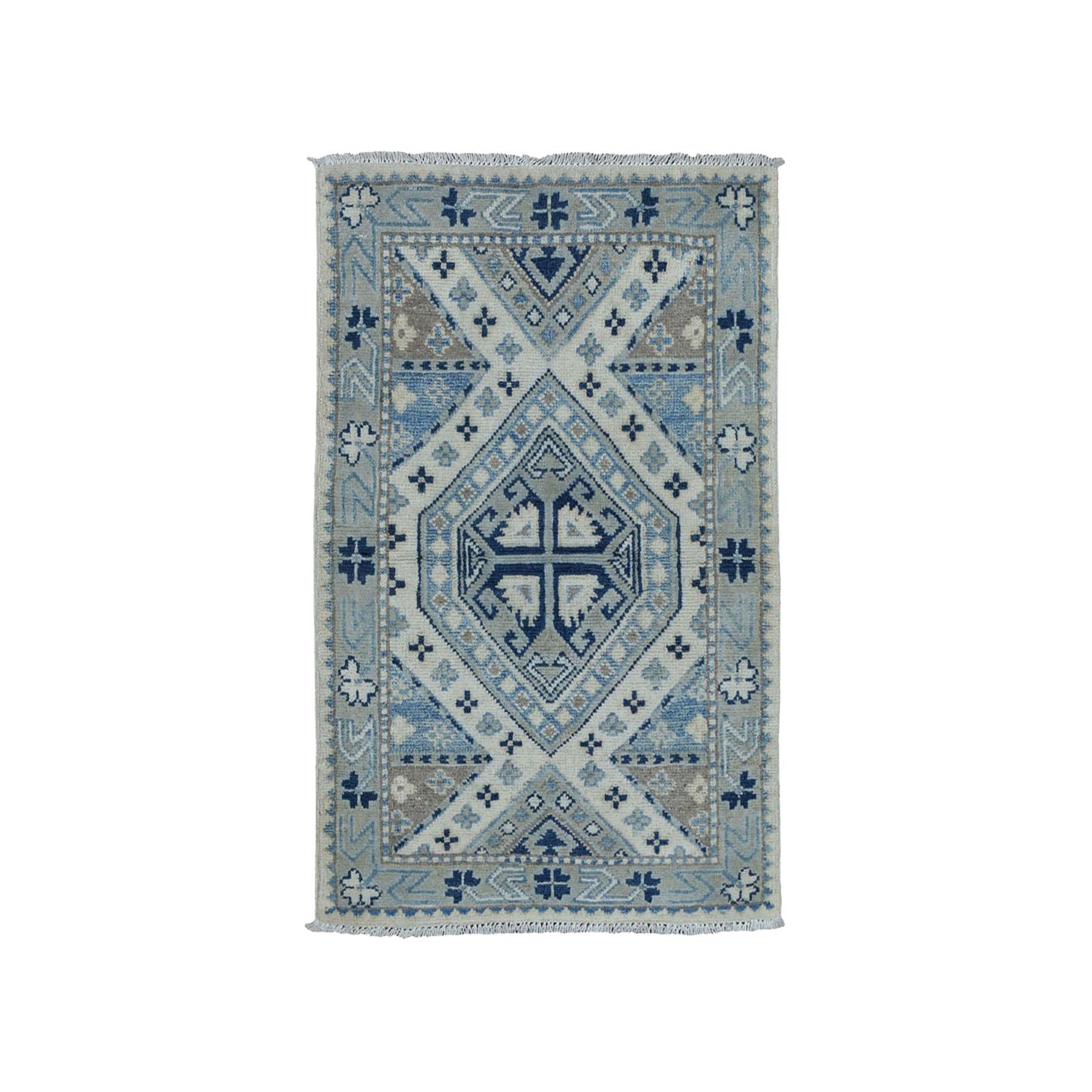 "2'X2'10"" Hand-Knotted Pure Wool Vintage Look Kazak Oriental Rug moae00ce"