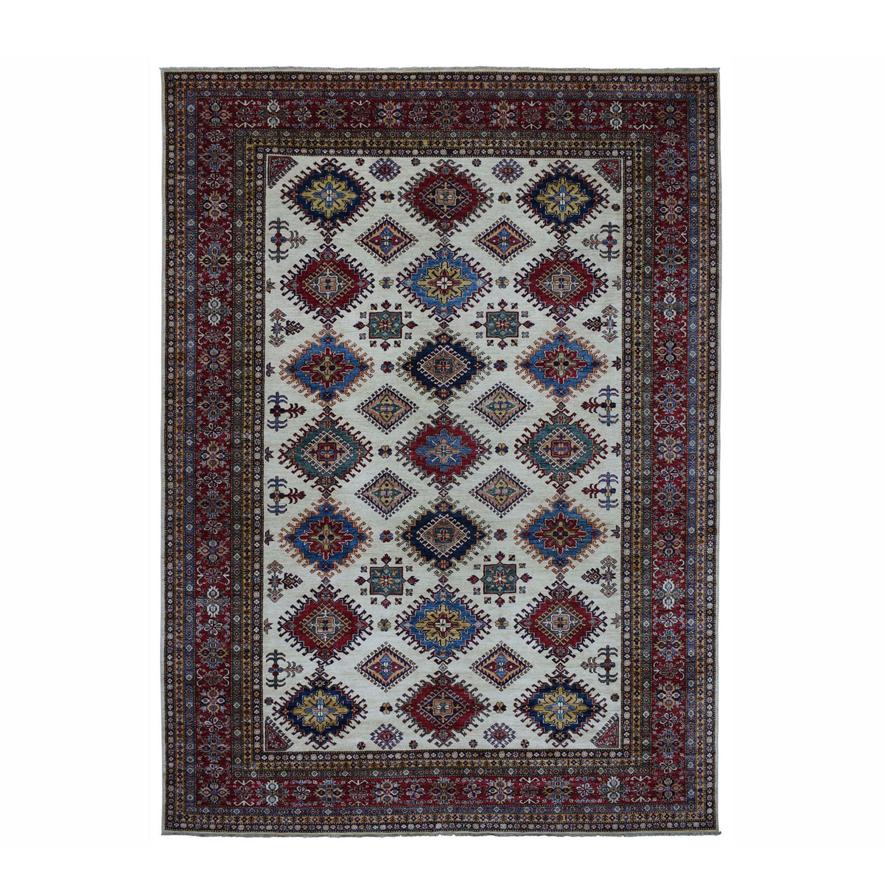 "10'x13'1"" Super Kazak Pure Wool Ivory Geometric Design Hand-Knotted Oriental Rug"