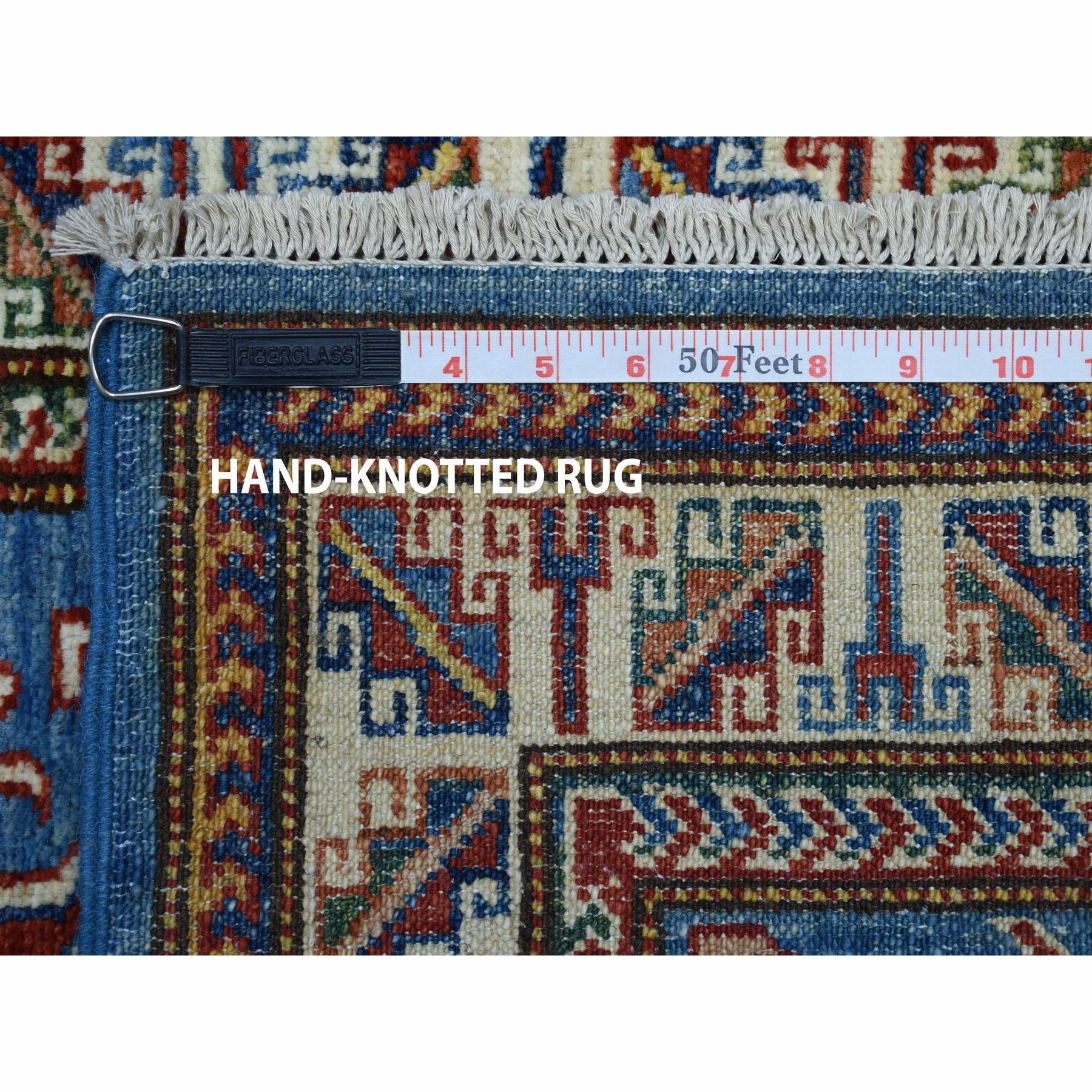 2-x3-2  Blue Super Kazak Pure Wool Geometric Design Hand-Knotted Oriental Rug