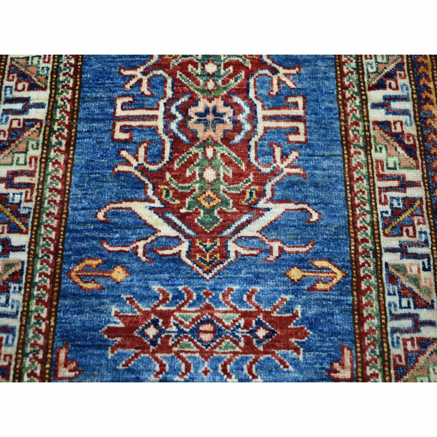 2-1 x3- Super Kazak Pure Wool Blue Geometric Design Hand-Knotted Oriental Rug