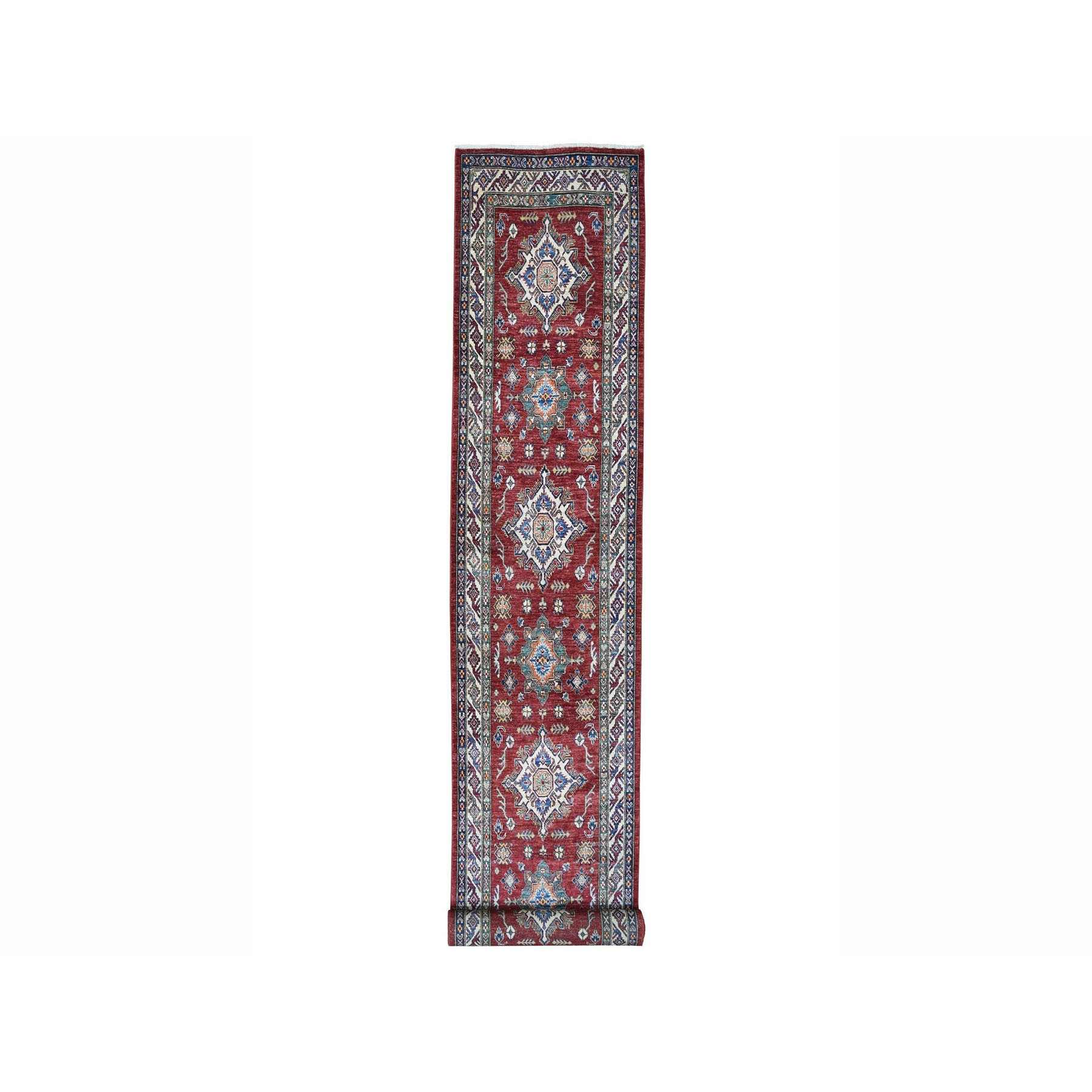 "3'3""X18'7"" Super Kazak Red Geometric Design Pure Wool Hand-Knotted Xl Runner Oriental Rug moae006c"