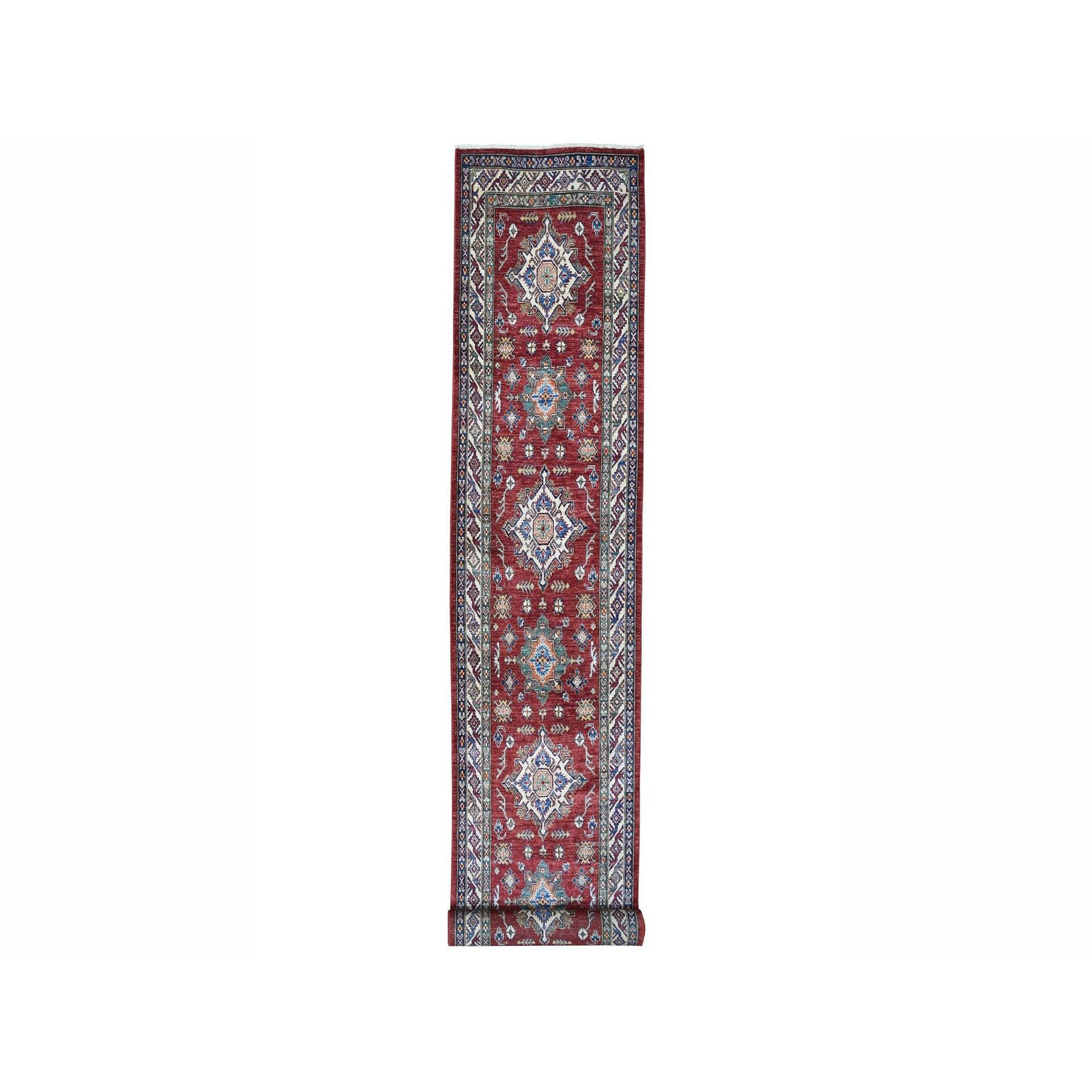 "3'3""X18'7"" Super Kazak Red Geometric Design Pure Wool Hand-Knotted Xl Runner Oriental Rug moae006c"