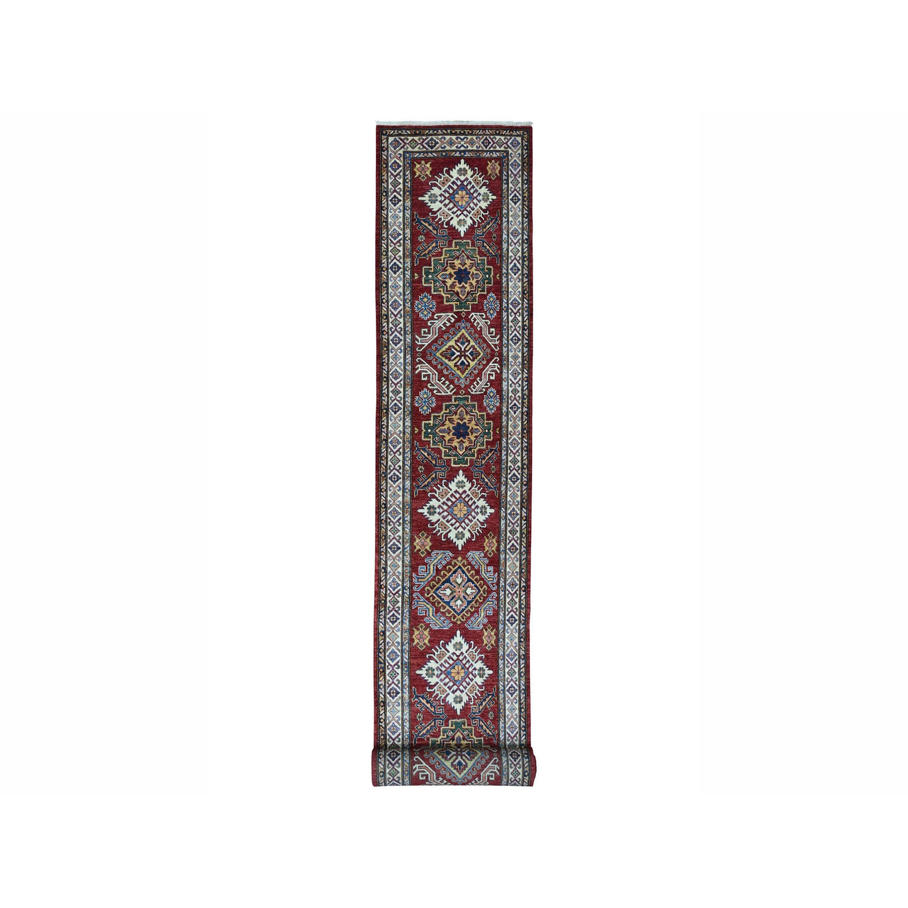 "2'10""X20'1"" Super Kazak Red Geometric Design Pure Wool Hand-Knotted Xl Runner Oriental Rug moae006e"