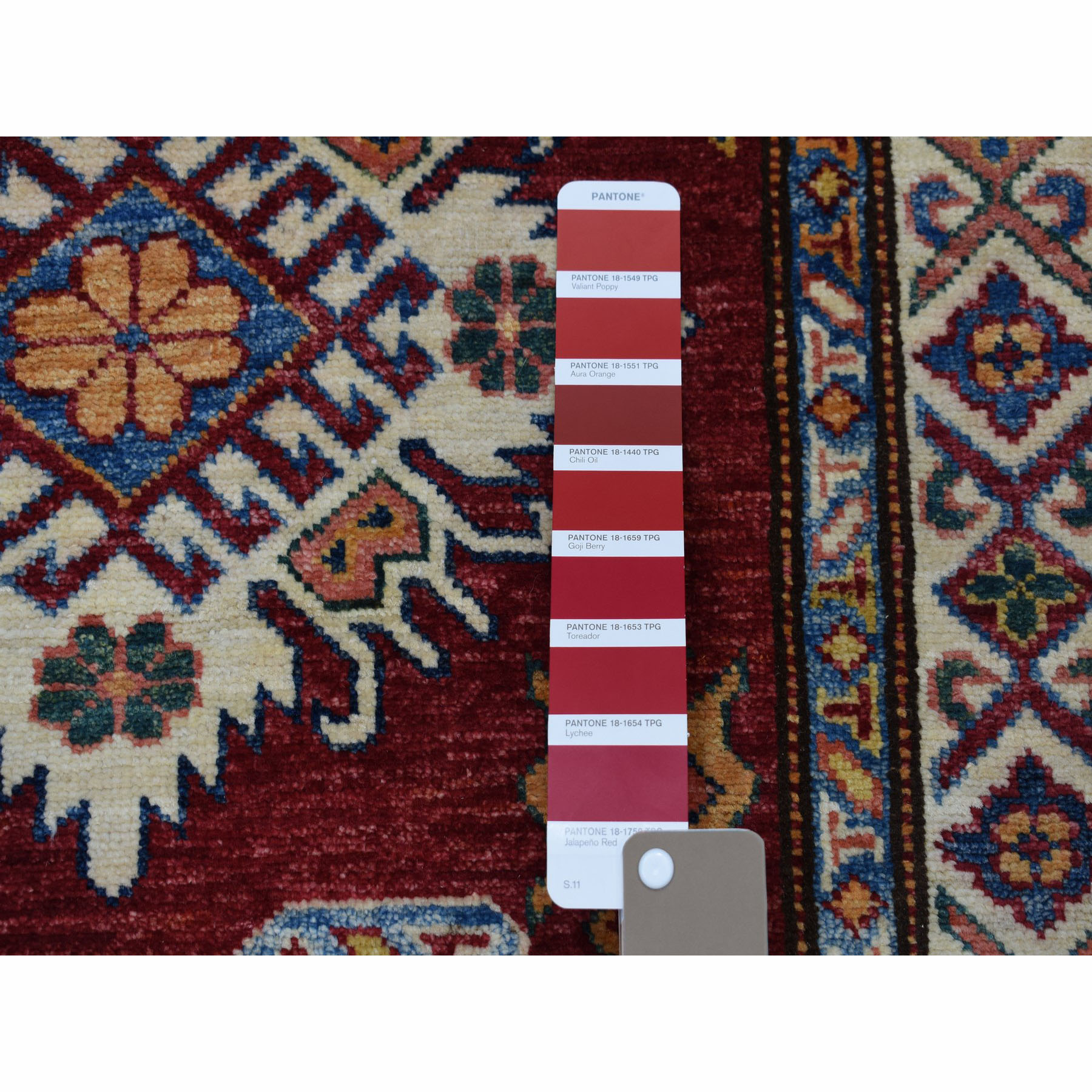 2-10 x20-1  Super Kazak Red Geometric Design Pure Wool Hand-Knotted XL Runner Oriental Rug