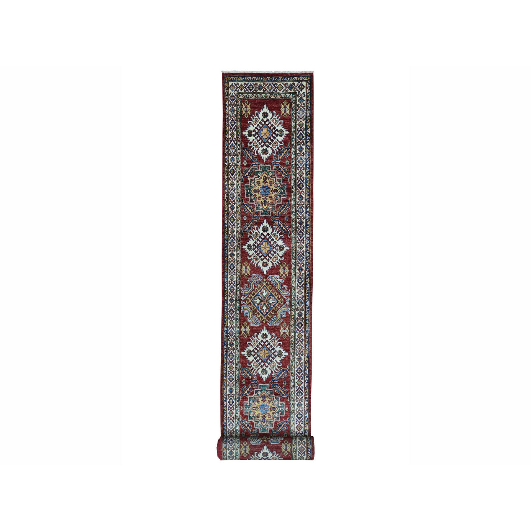 "2'8""X20' Super Kazak Red Geometric Design Pure Wool Hand-Knotted Xl Runner Oriental Rug moae0069"