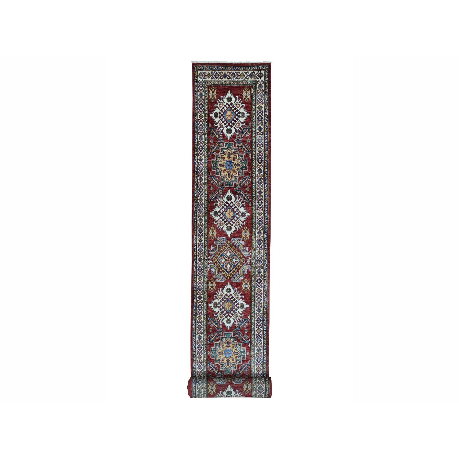"2'8""X20' Super Kazak Red Geometric Design Pure Wool Hand-Knotted Xl Runner Oriental Rug moae0069"