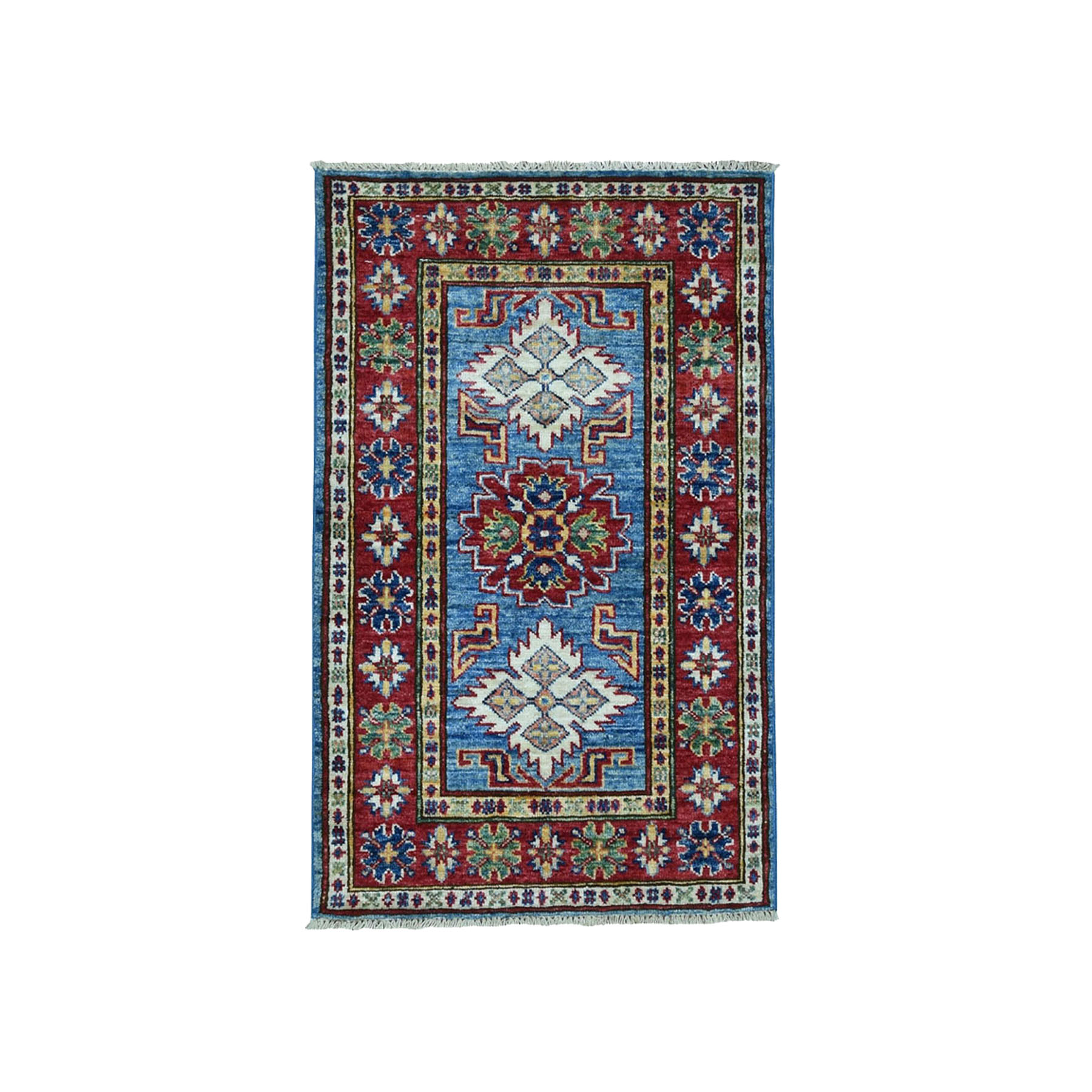 2'X3' Super Kazak Pure Wool Blue Geometric Design Hand-Knotted Oriental Rug moae0079
