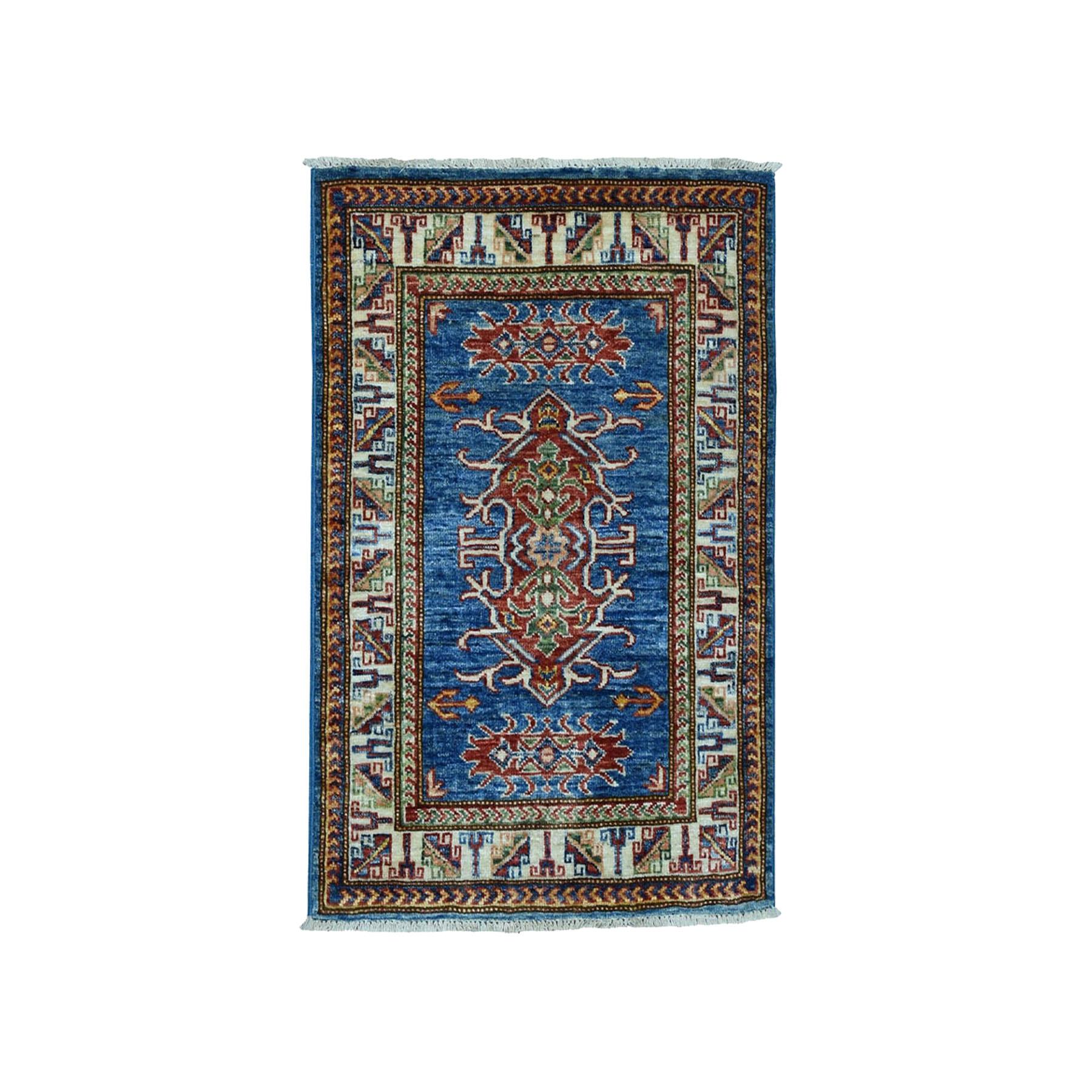 "2'1""X2'10"" Super Kazak Pure Wool Blue Geometric Design Hand-Knotted Oriental Rug moae008e"