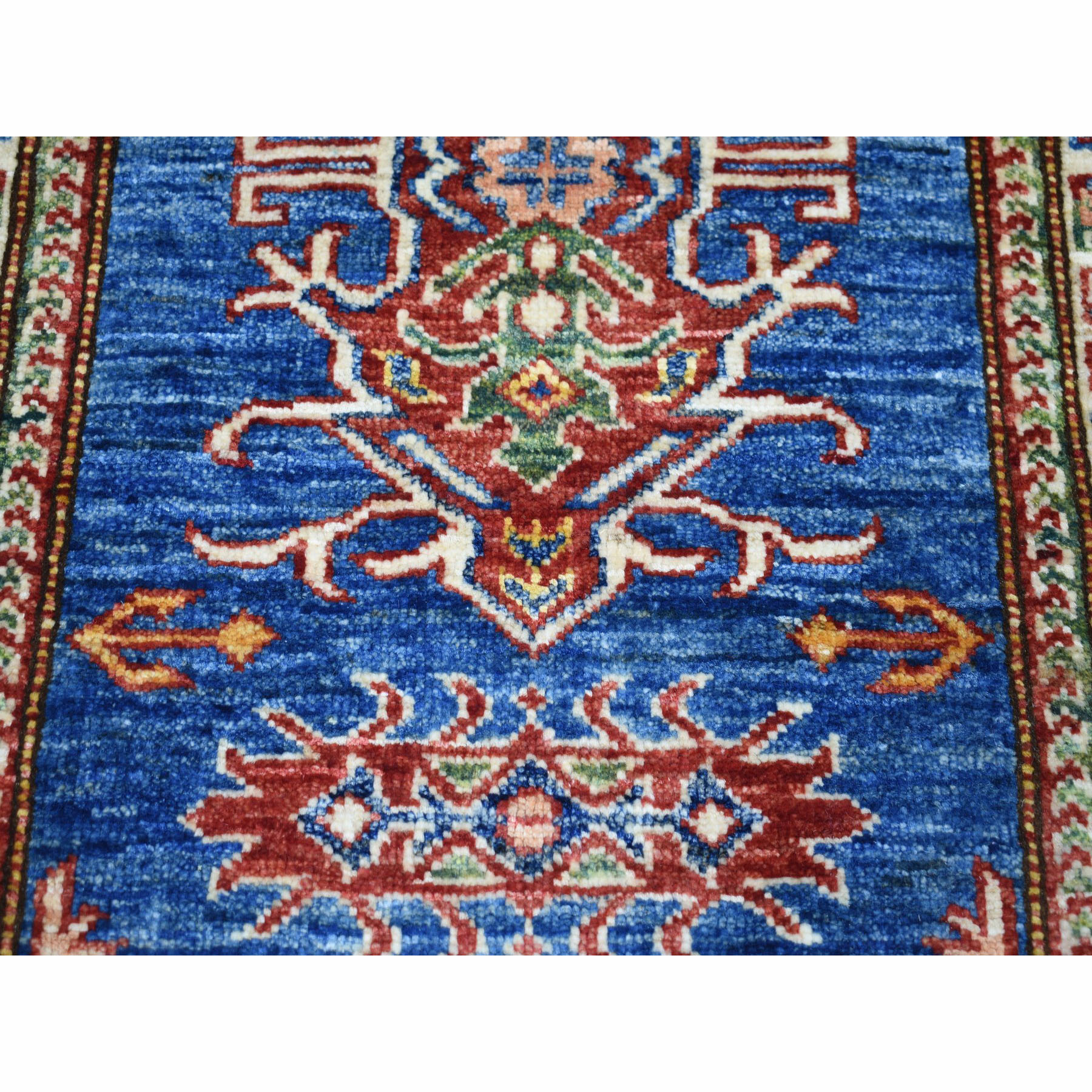 2-1 x2-10  Super Kazak Pure Wool Blue Geometric Design Hand-Knotted Oriental Rug