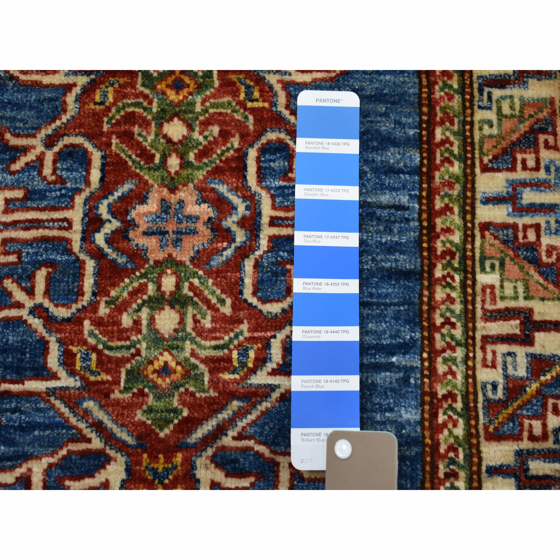 2-1 x2-10  Super Kazak Pure Wool Blue Geometric Design Hand-Knotted Oriental Rug