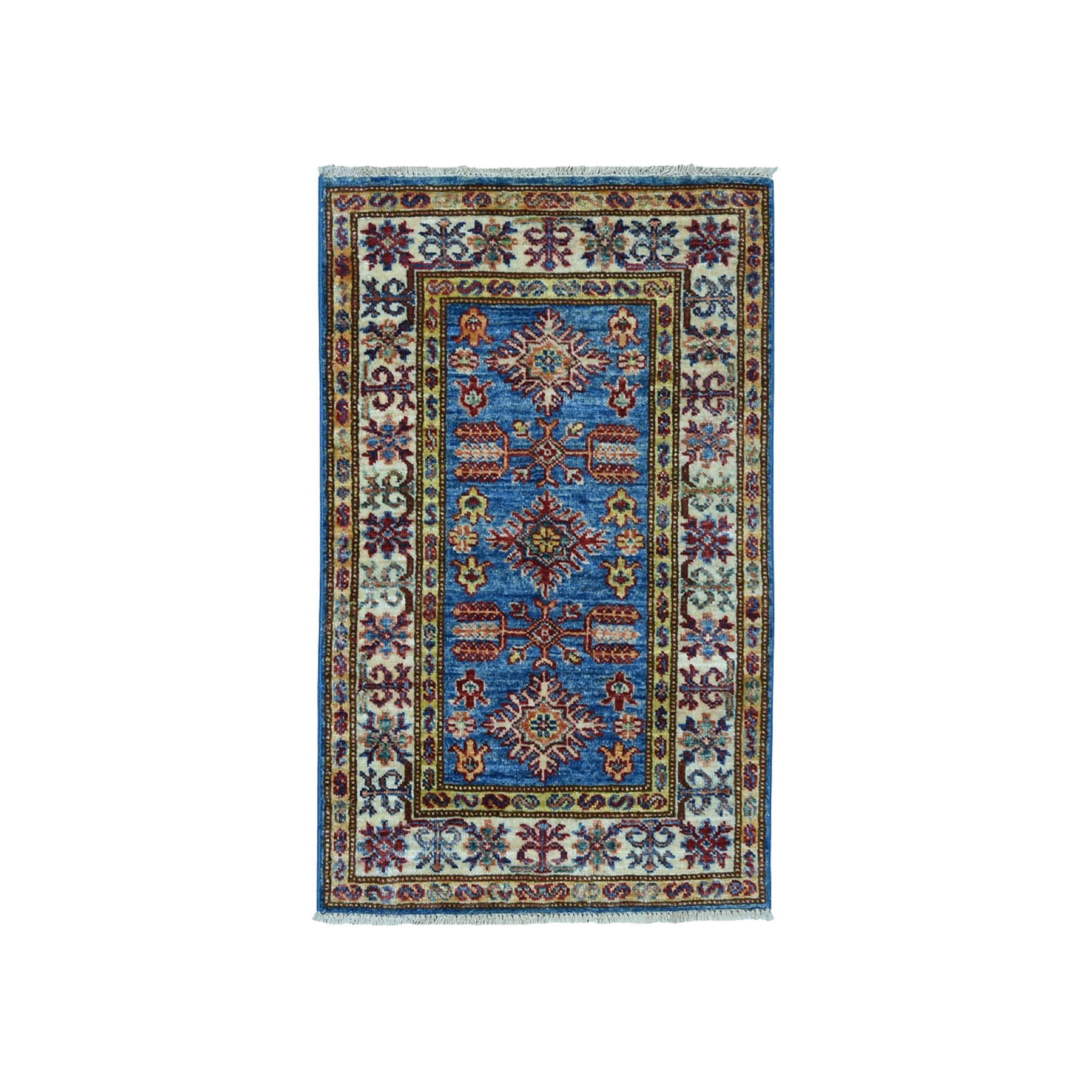"2'X2'10"" Super Kazak Pure Wool Blue Geometric Design Hand-Knotted Oriental Rug moae0086"