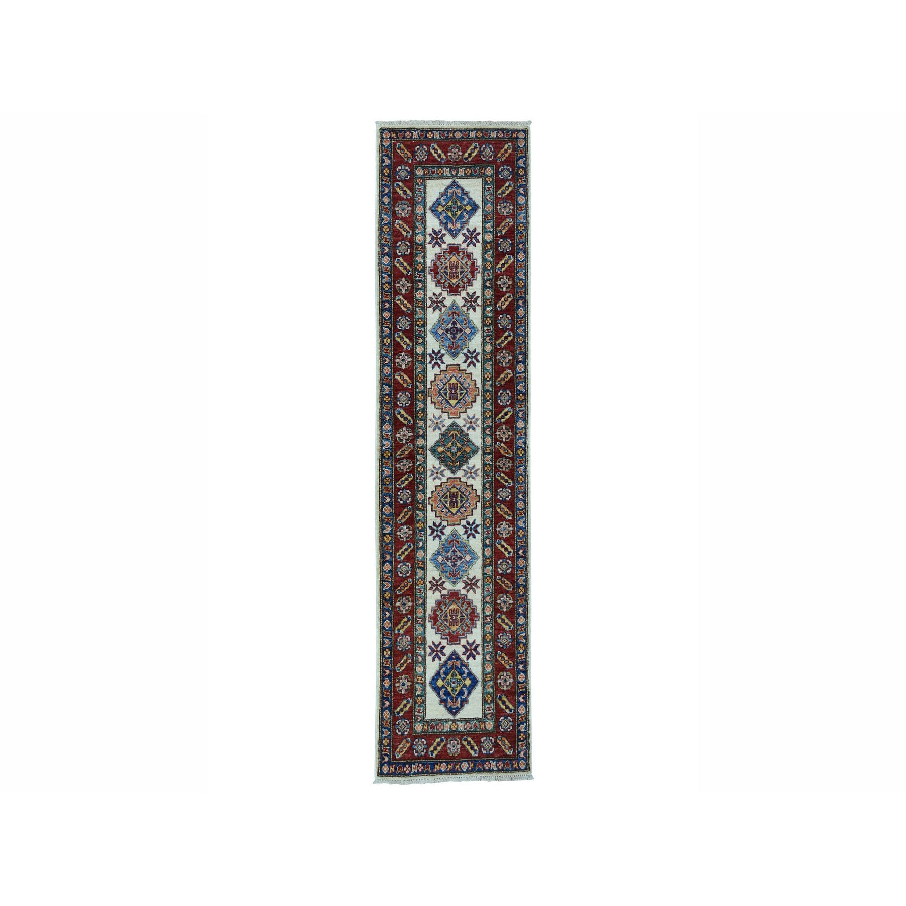 "2'X6'3"" Red Super Kazak Geometric Design Hand-Knotted Runner Oriental Rug moae0087"